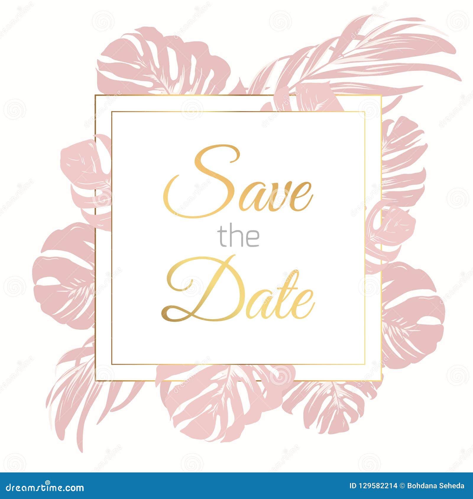 Εκτός από το πρότυπο καρτών πλαισίων συνόρων ημερομηνίας Εξωτικά τροπικά φύλλα monstera τροπικών δασών ζουγκλών Πρόσκληση γαμήλιο