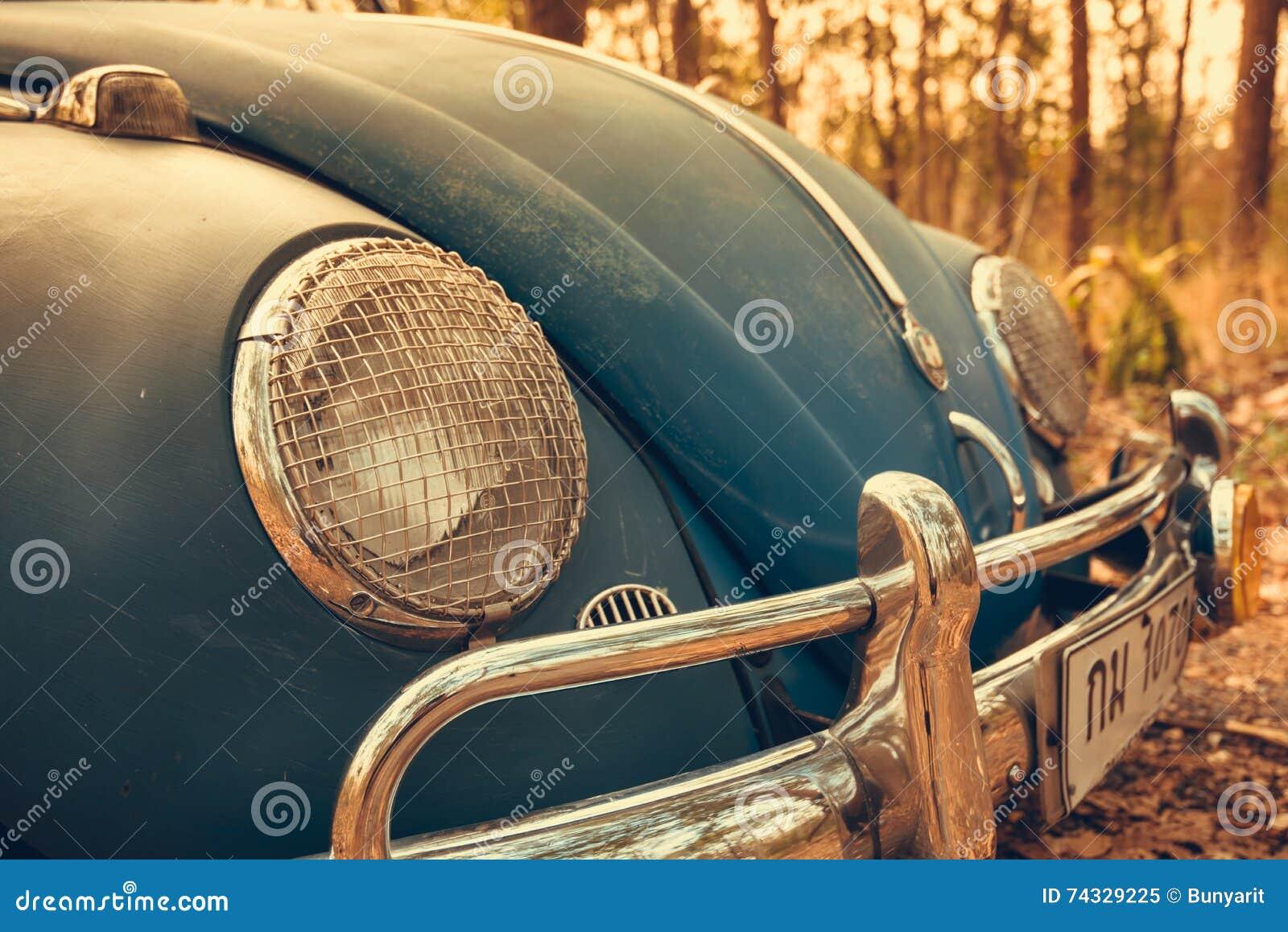 εκλεκτής ποιότητας αναδρομικό μπλε χρώμα του Volkswagen αυτοκινήτων στα δασικά φύλλα καφετιά