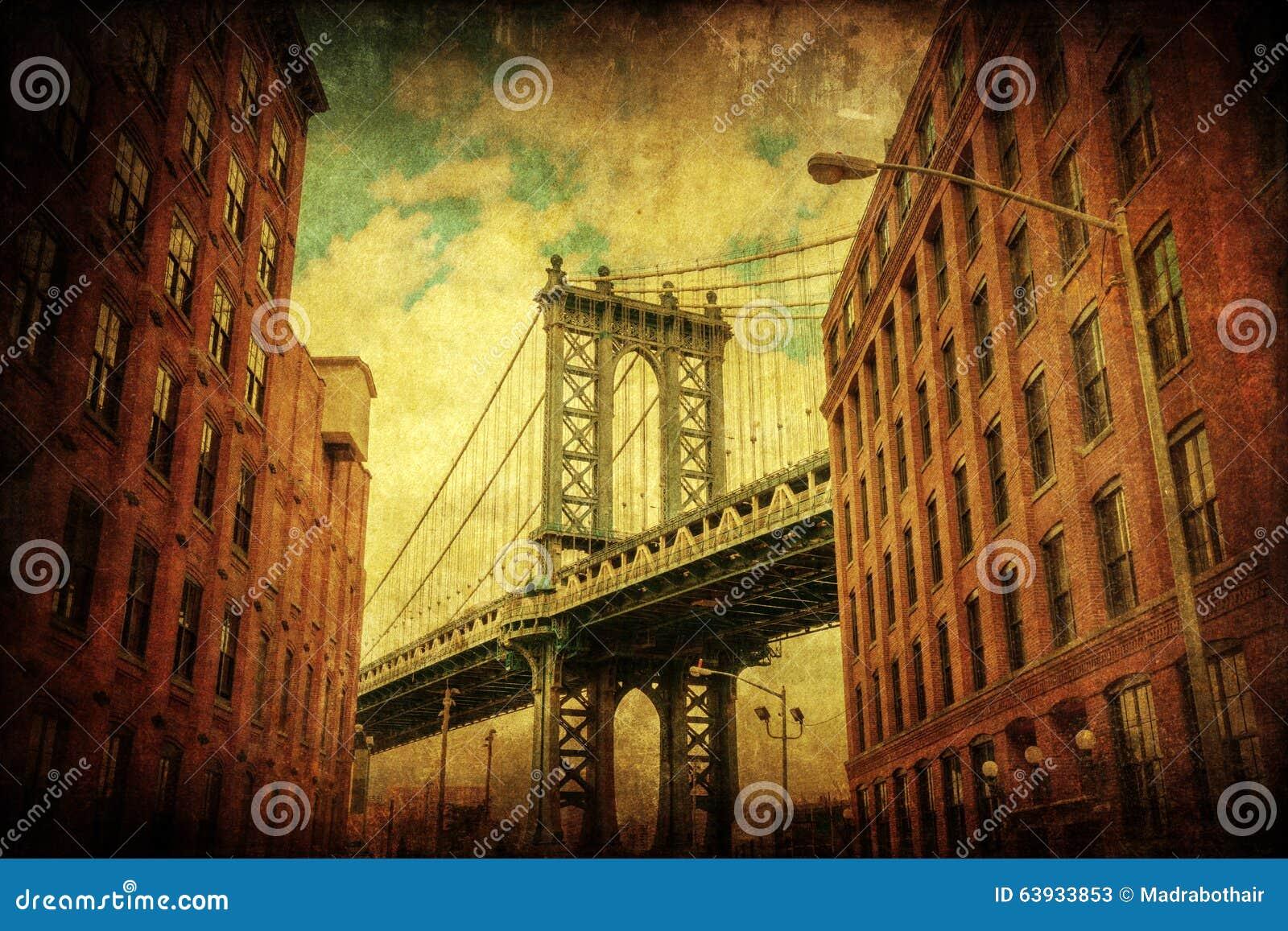 Εκλεκτής ποιότητας εικόνα ύφους της γέφυρας του Μανχάταν στο Μανχάταν, πόλη της Νέας Υόρκης