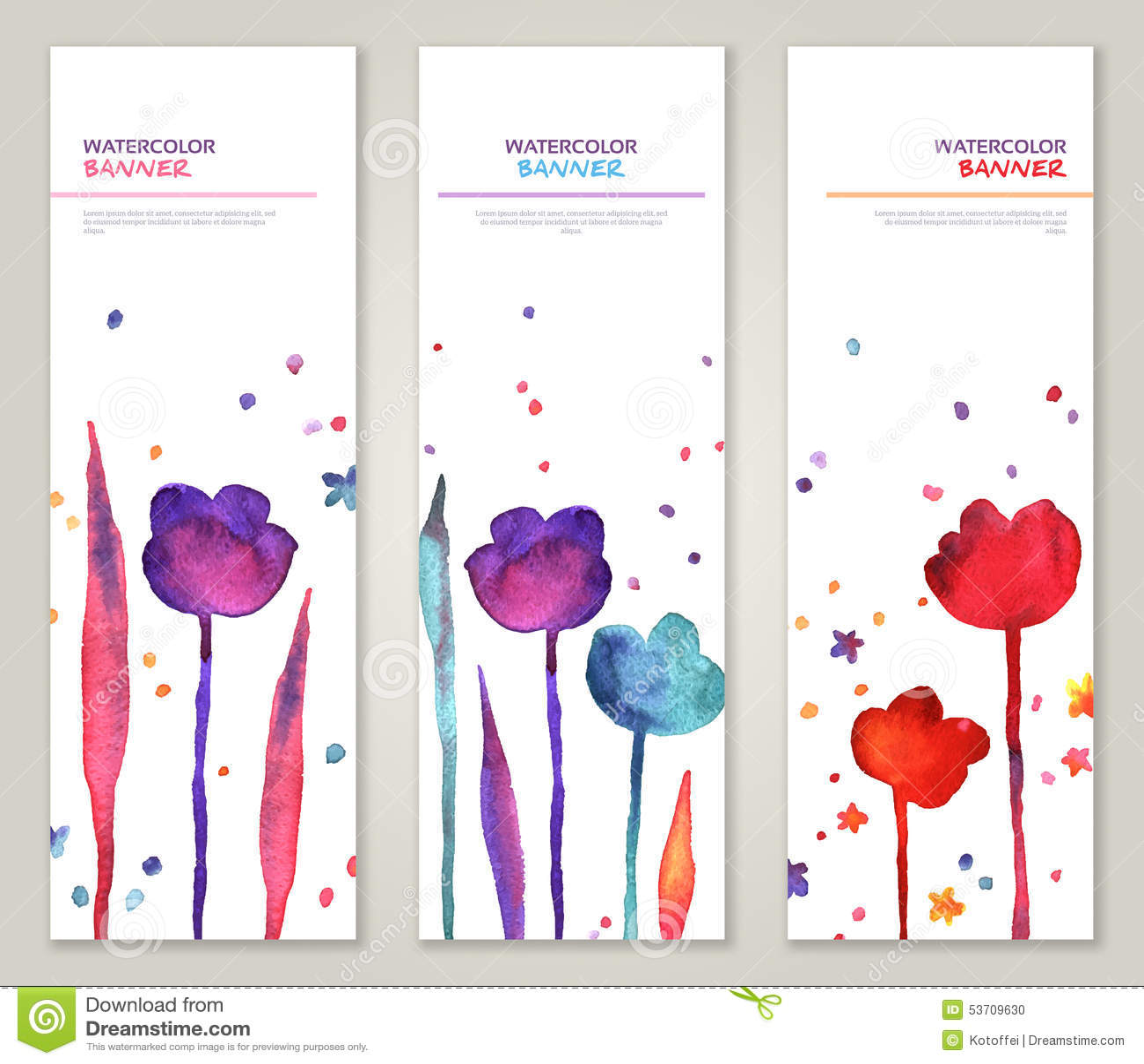 Εκλεκτής ποιότητας κάθετα εμβλήματα που τίθενται με το watercolor
