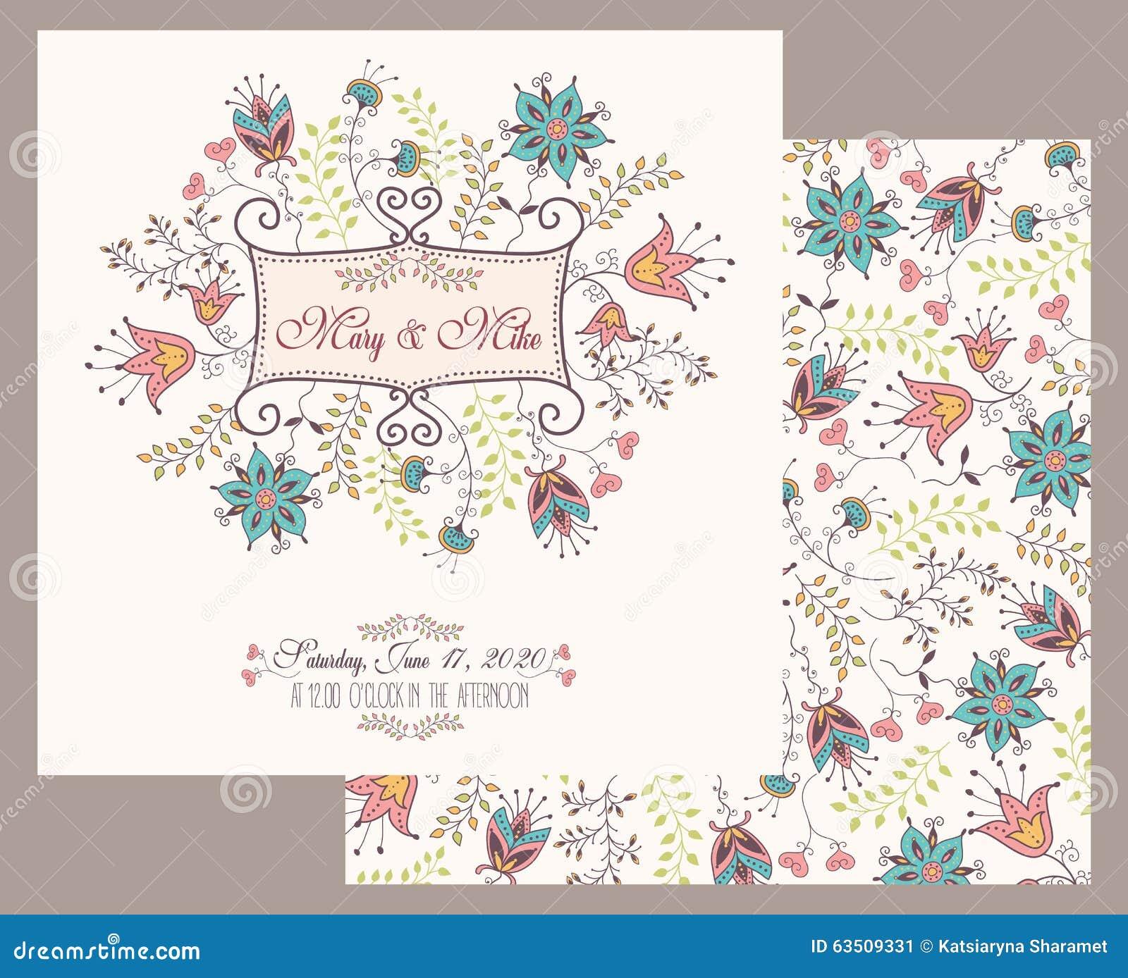 Εκλεκτής ποιότητας κάρτα γαμήλιας πρόσκλησης με τα floral και παλαιά διακοσμητικά στοιχεία