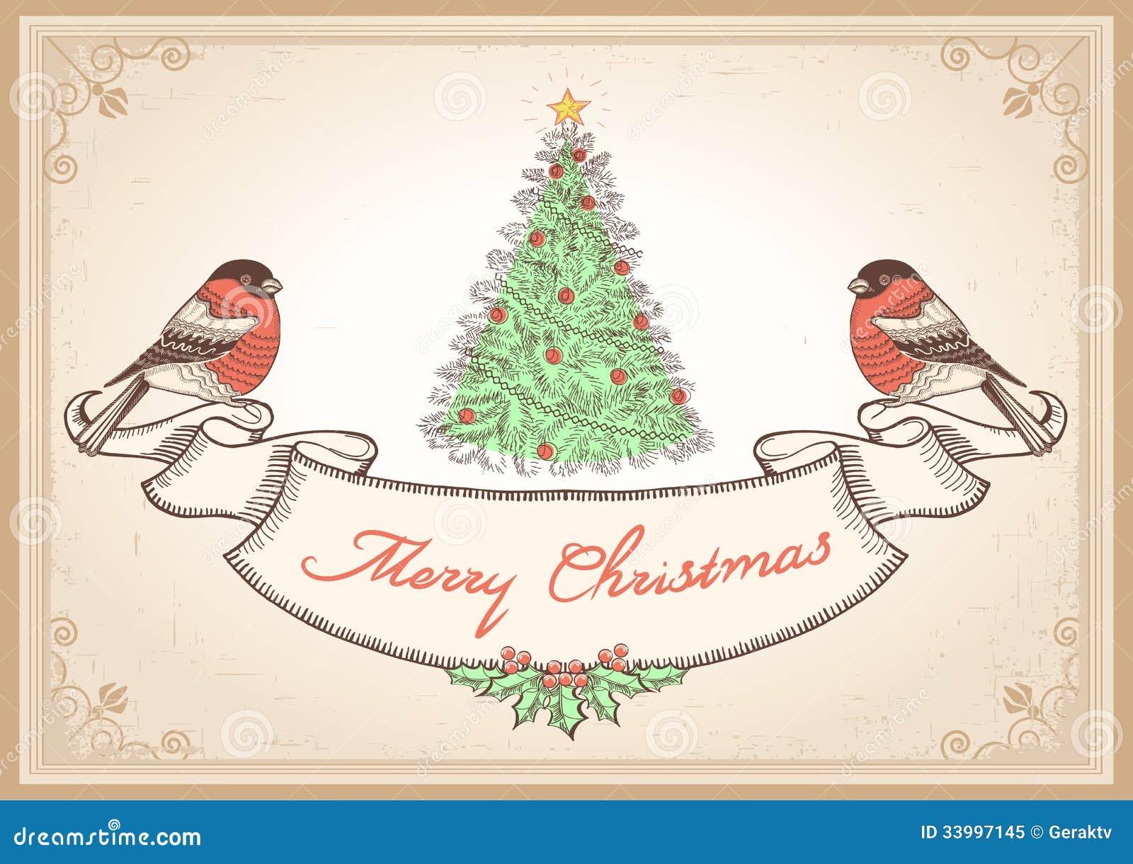 Εκλεκτής ποιότητας κάρτα Χριστουγέννων με τα bullfinches. Διάνυσμα άρρωστο