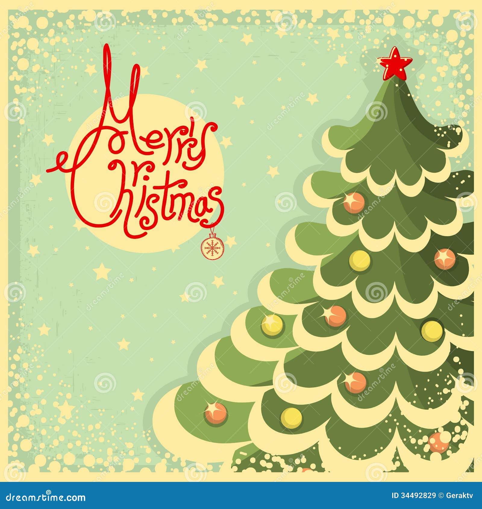 Εκλεκτής ποιότητας κάρτα Χριστουγέννων με το δέντρο και το κείμενο