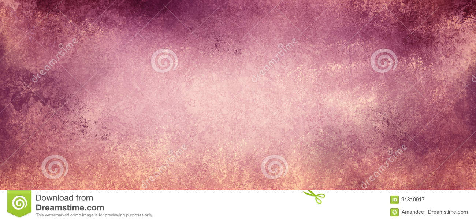 Εκλεκτής ποιότητας πορφυρό και ρόδινο υπόβαθρο σε εξασθενισμένο μπεζ χαρτί με τα κατασκευασμένα σύνορα grunge με το χρώμα αποφλοί