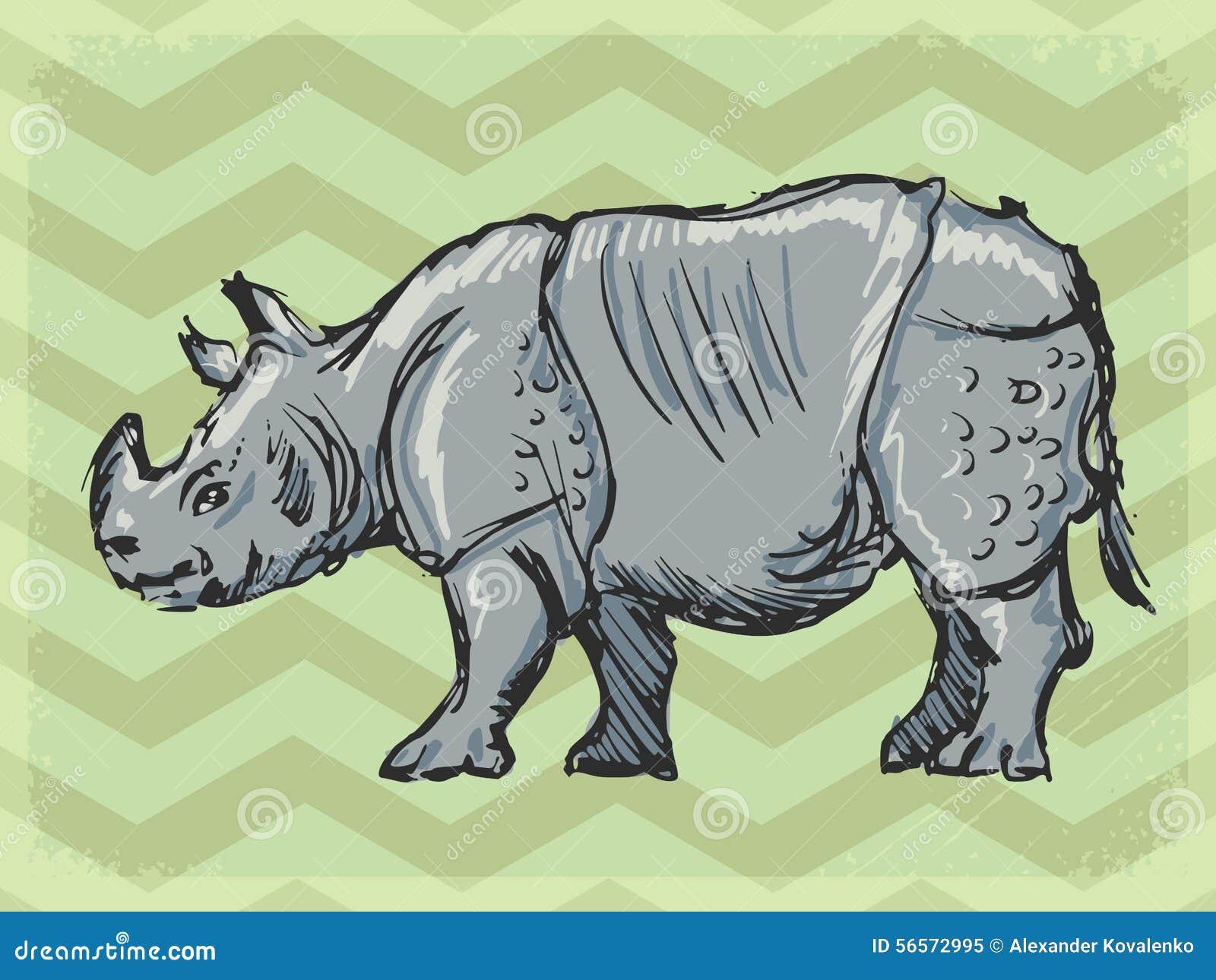 Download Εκλεκτής ποιότητας υπόβαθρο με το ρινόκερο Απεικόνιση αποθεμάτων - εικονογραφία από αναδρομικός, antiquate: 56572995