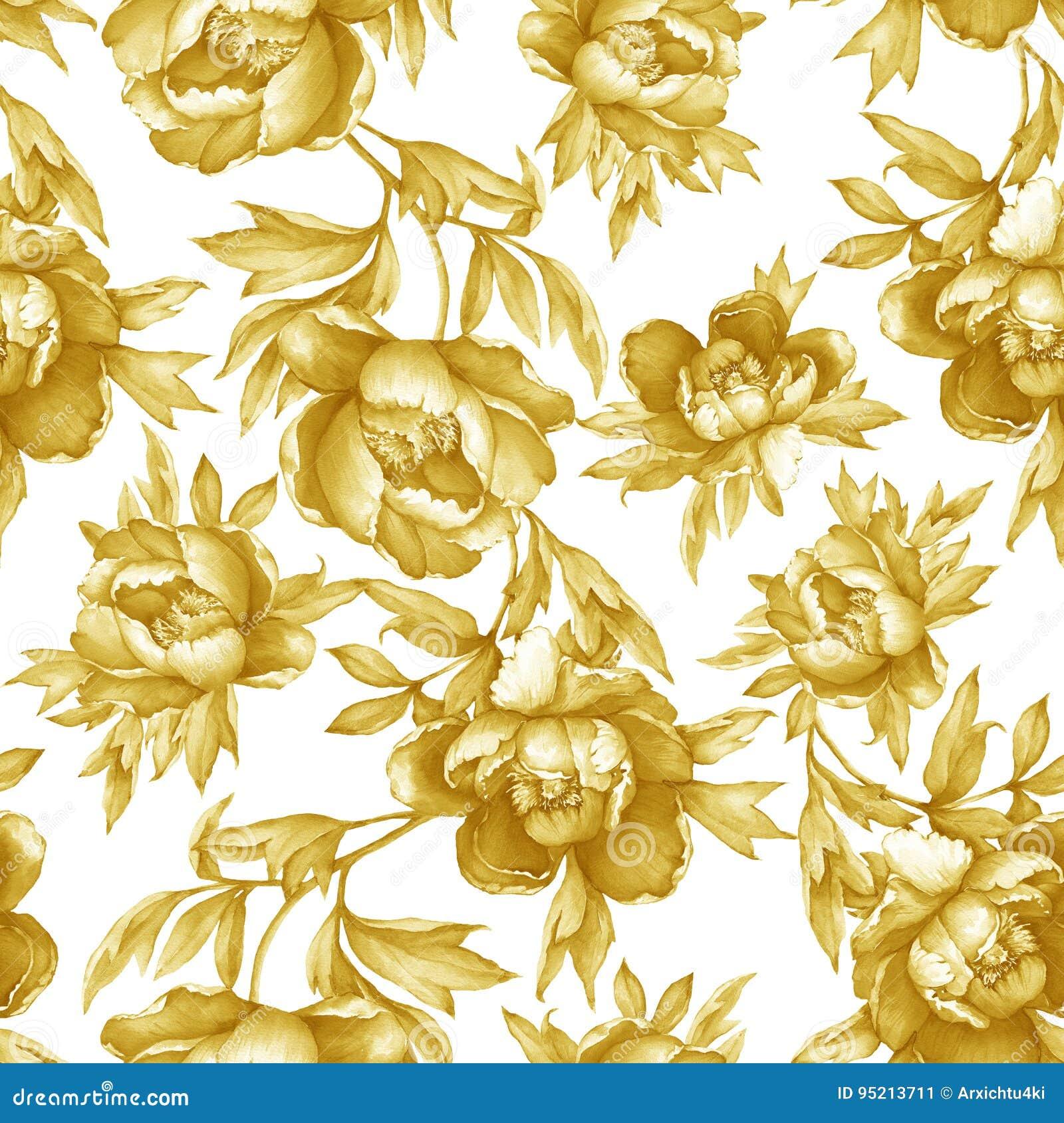 Εκλεκτής ποιότητας floral άνευ ραφής κίτρινο μονοχρωματικό σχέδιο με το άνθισμα peonies, στο άσπρο υπόβαθρο