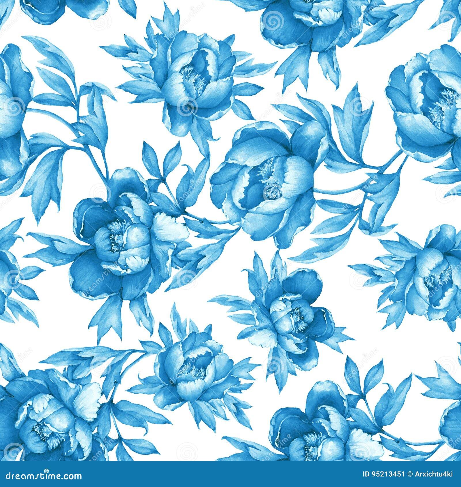 Εκλεκτής ποιότητας floral άνευ ραφής μπλε μονοχρωματικό σχέδιο με το άνθισμα peonies, στο άσπρο υπόβαθρο