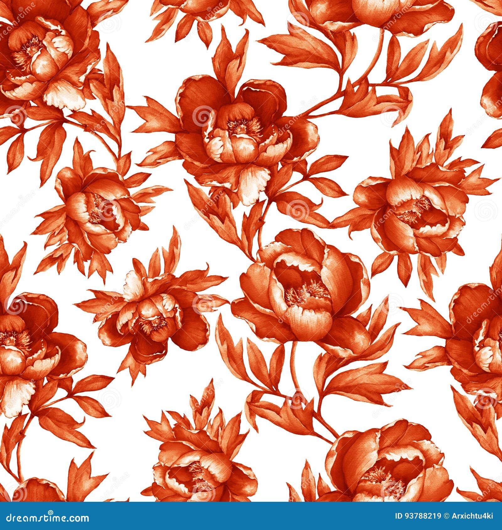Εκλεκτής ποιότητας floral άνευ ραφής red-brown μονοχρωματικό σχέδιο με το άνθισμα peonies, στο άσπρο υπόβαθρο Συρμένη χέρι ζωγραφ