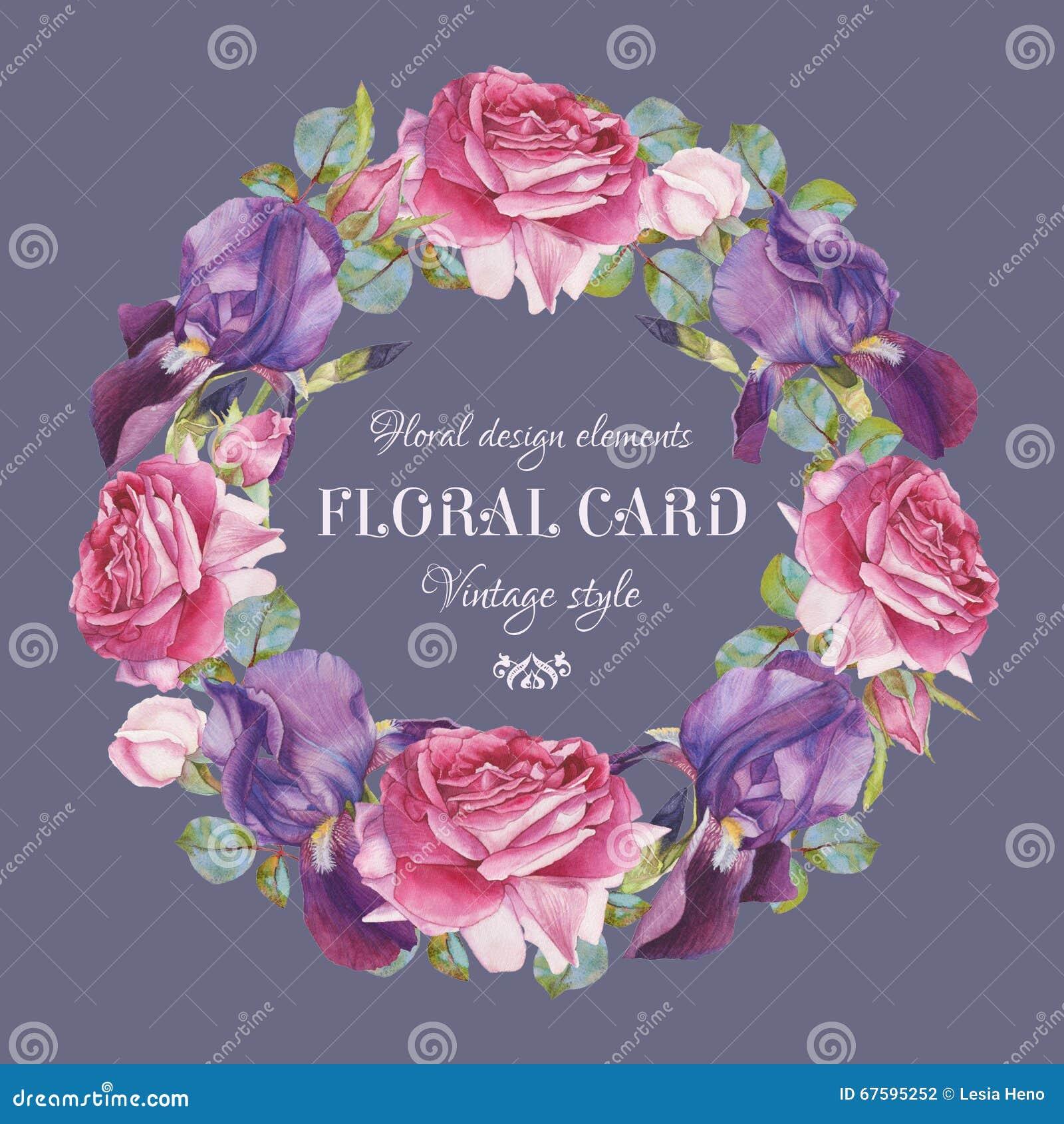 Εκλεκτής ποιότητας floral ευχετήρια κάρτα με ένα πλαίσιο των ρόδινων τριαντάφυλλων watercolor και της ιώδους ίριδας