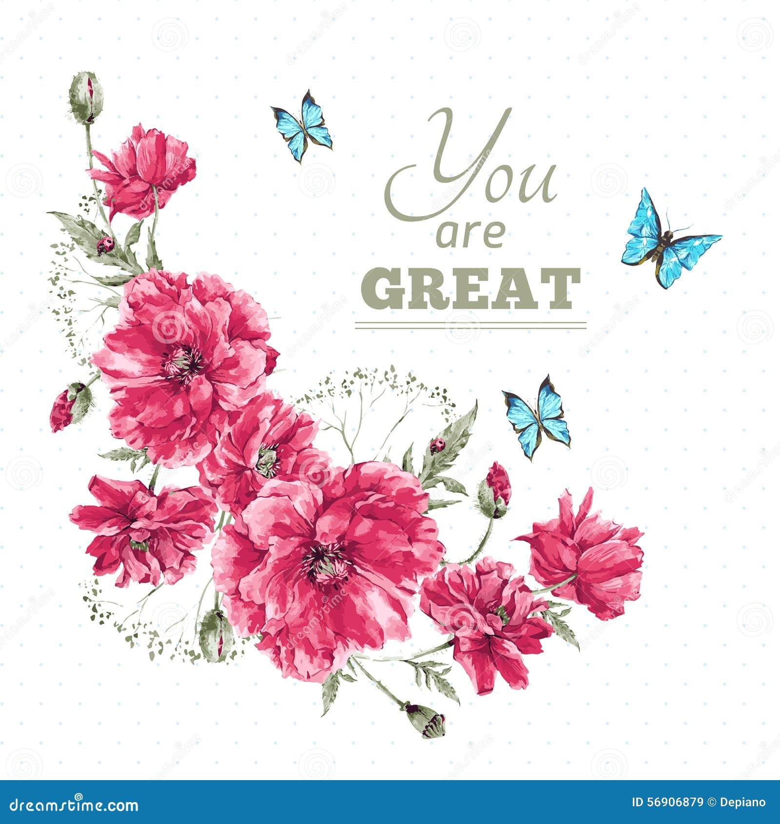 Εκλεκτής ποιότητας Floral κάρτα Watercolor με την ανθοδέσμη του κοκκίνου