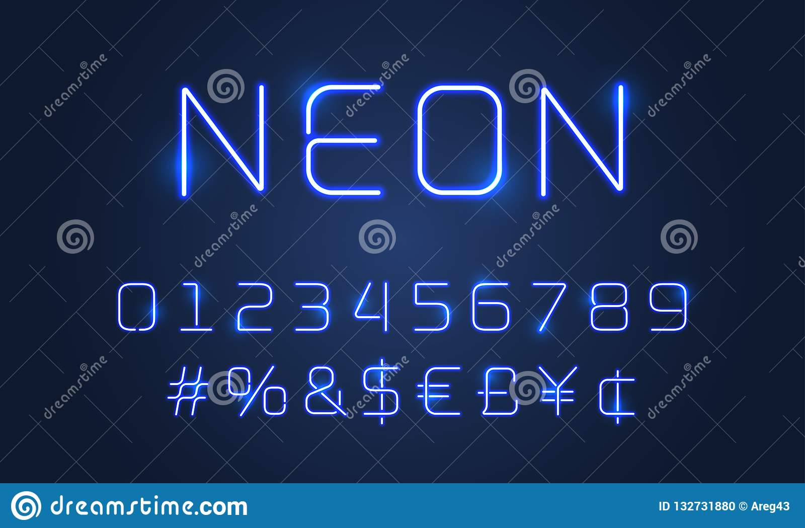 Ελαφριοί αριθμοί αλφάβητου πηγών νέου, ειδικά σύμβολα Διανυσματική μπλε πηγή αλφάβητου πυράκτωσης σωλήνων νέου με το σημάδι hasht