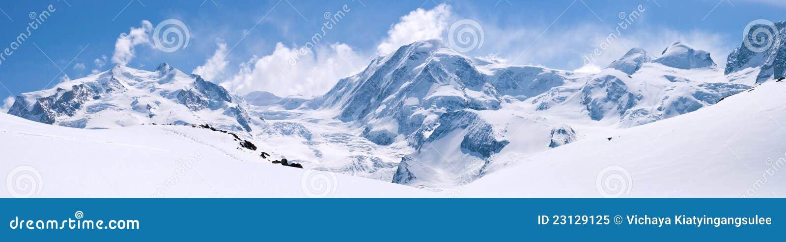 Ελβετικό τοπίο σειράς βουνών Άλπεων