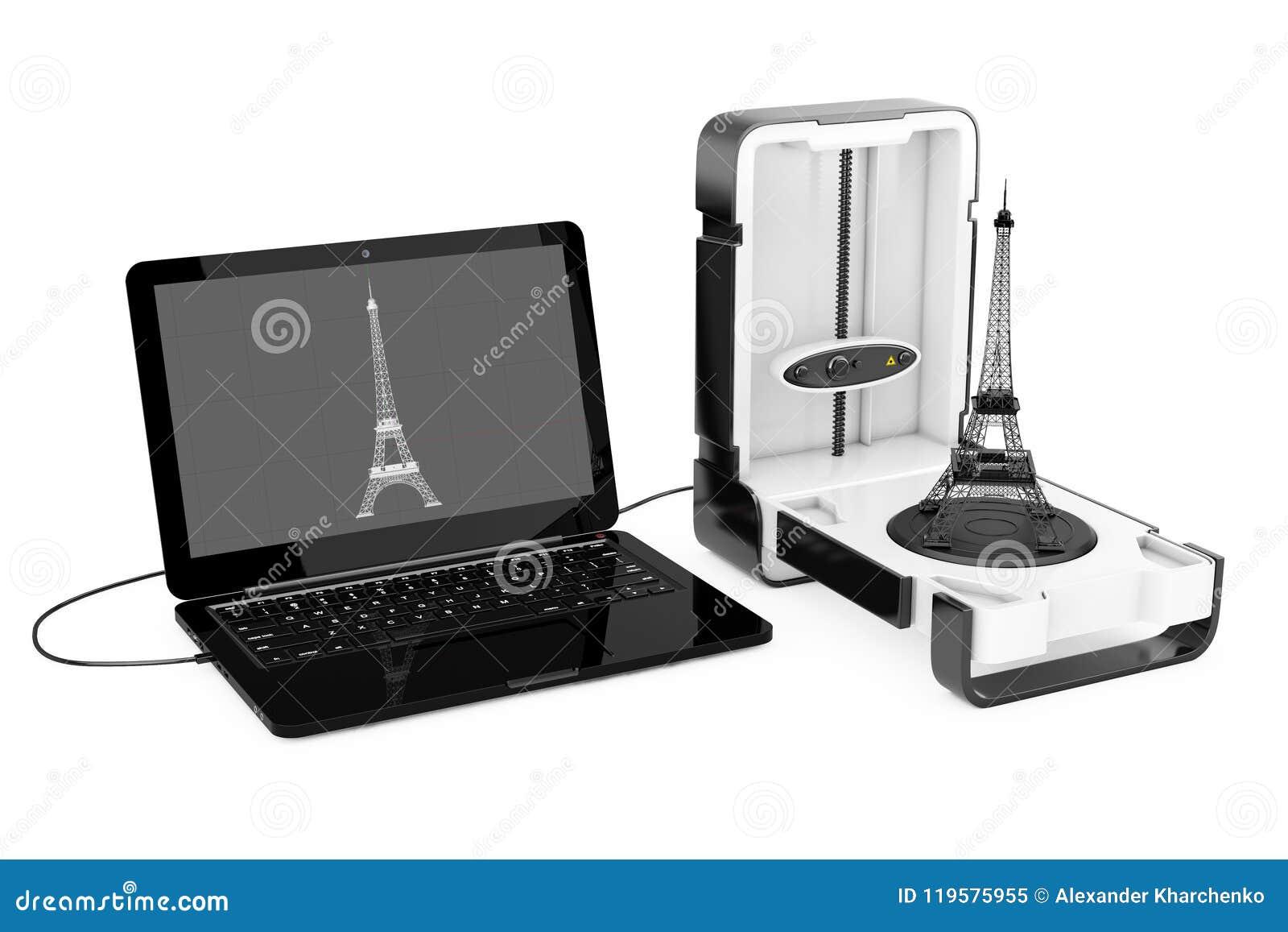 Ελεύθερος μόνιμος σύγχρονος εγχώριος τρισδιάστατος ανιχνευτής υπολογιστών γραφείου που συνδέεται με το lap-top
