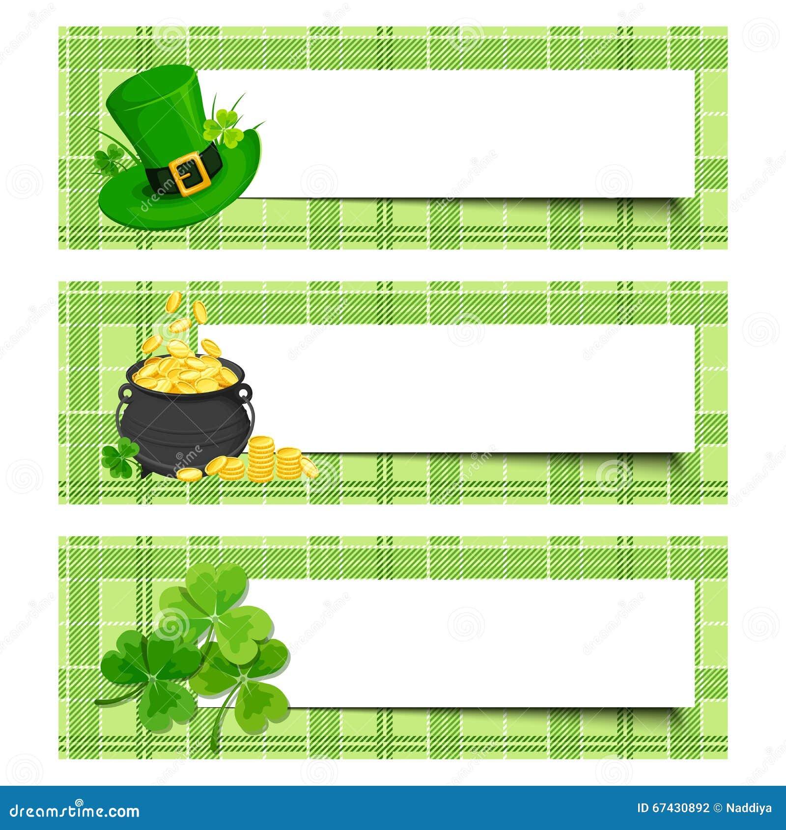 Εμβλήματα ημέρας του ST Πάτρικ με το τριφύλλι, το δοχείο του χρυσού και leprechaun το καπέλο Διάνυσμα eps-10