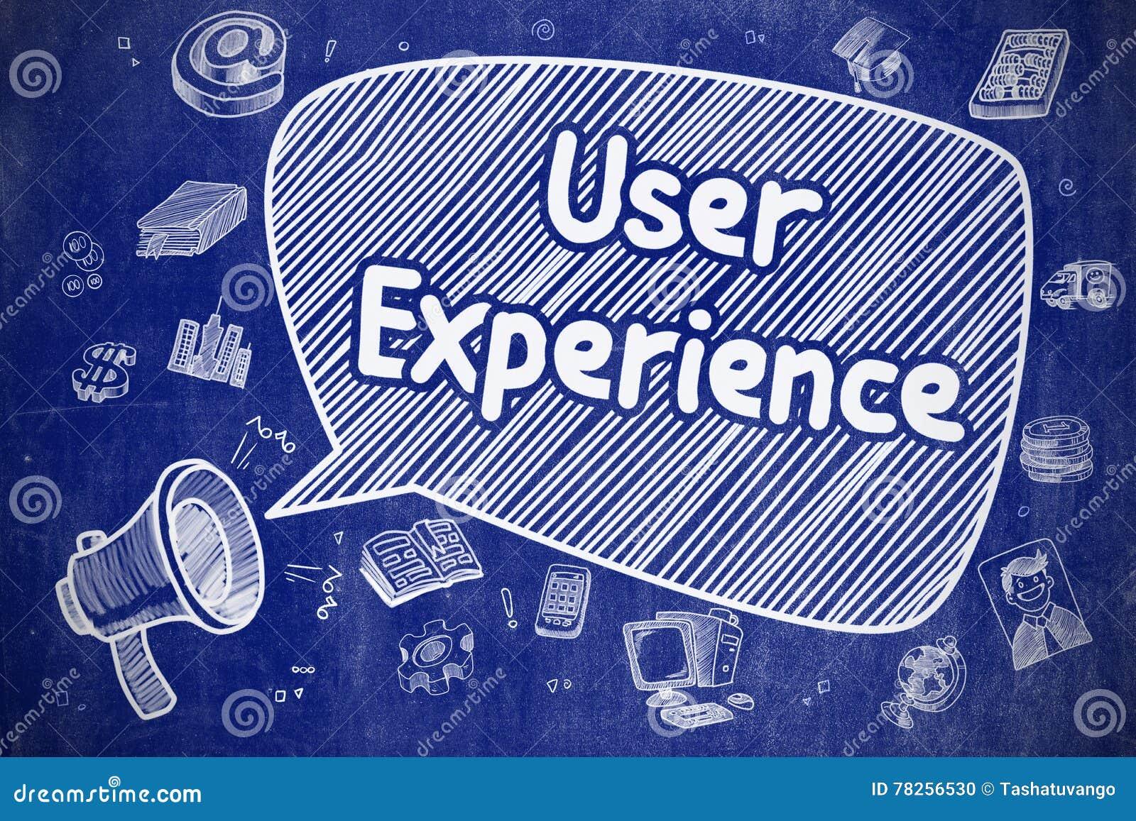 Εμπειρία χρηστών - απεικόνιση Doodle στον μπλε πίνακα κιμωλίας