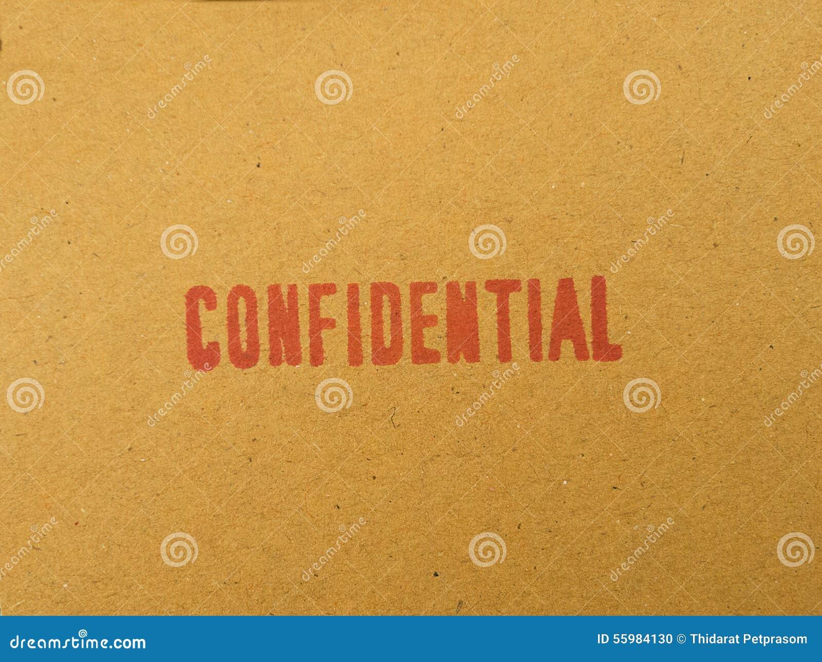 Εμπιστευτικός που τυπώνεται στον καφετή εκλεκτής ποιότητας φάκελο, στη μακροεντολή