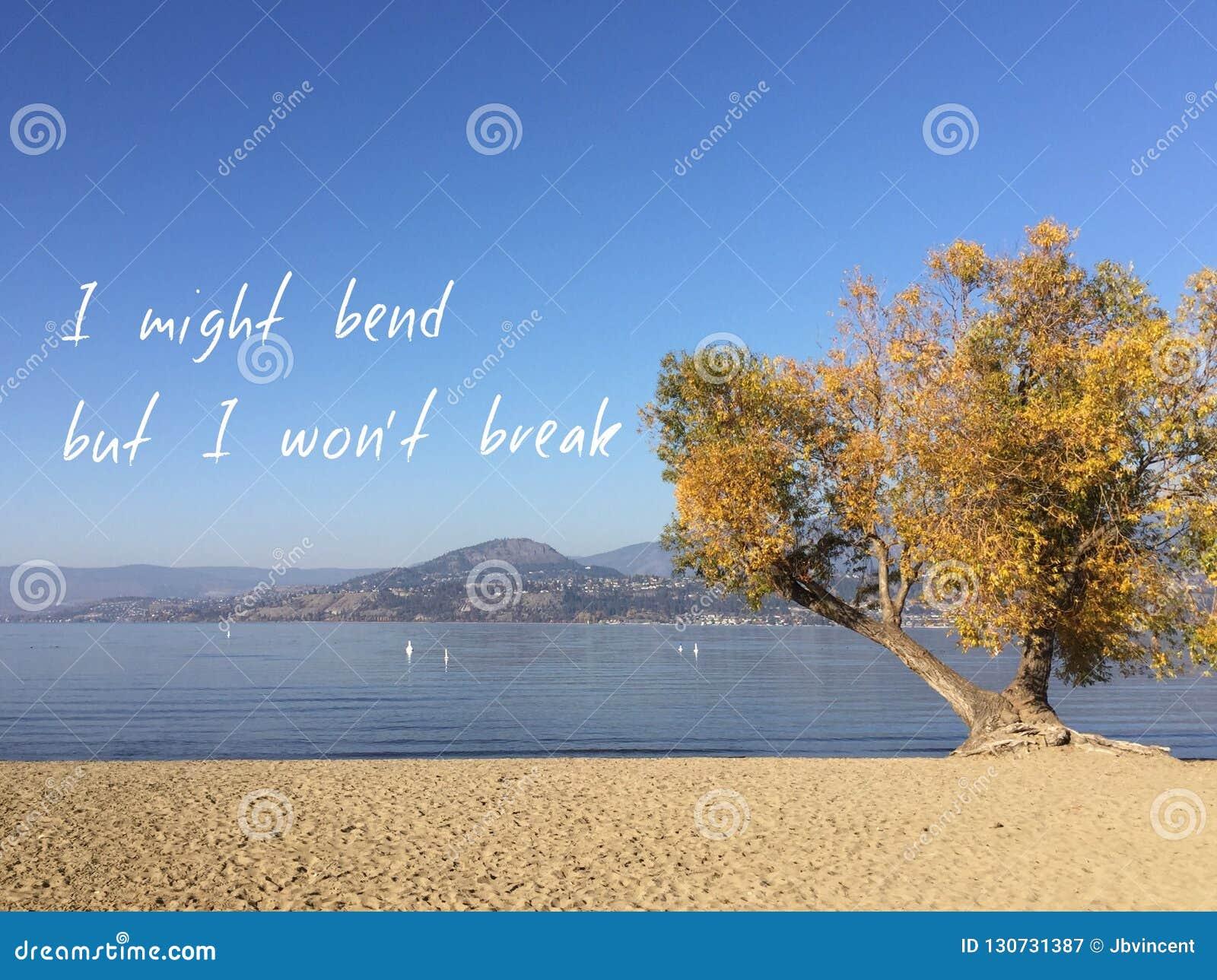 Εμπνευσμένο απόσπασμα στο φυσικό τοπίο λιμνών φθινοπώρου Να κάμψω αλλά δεν θα σπάσω