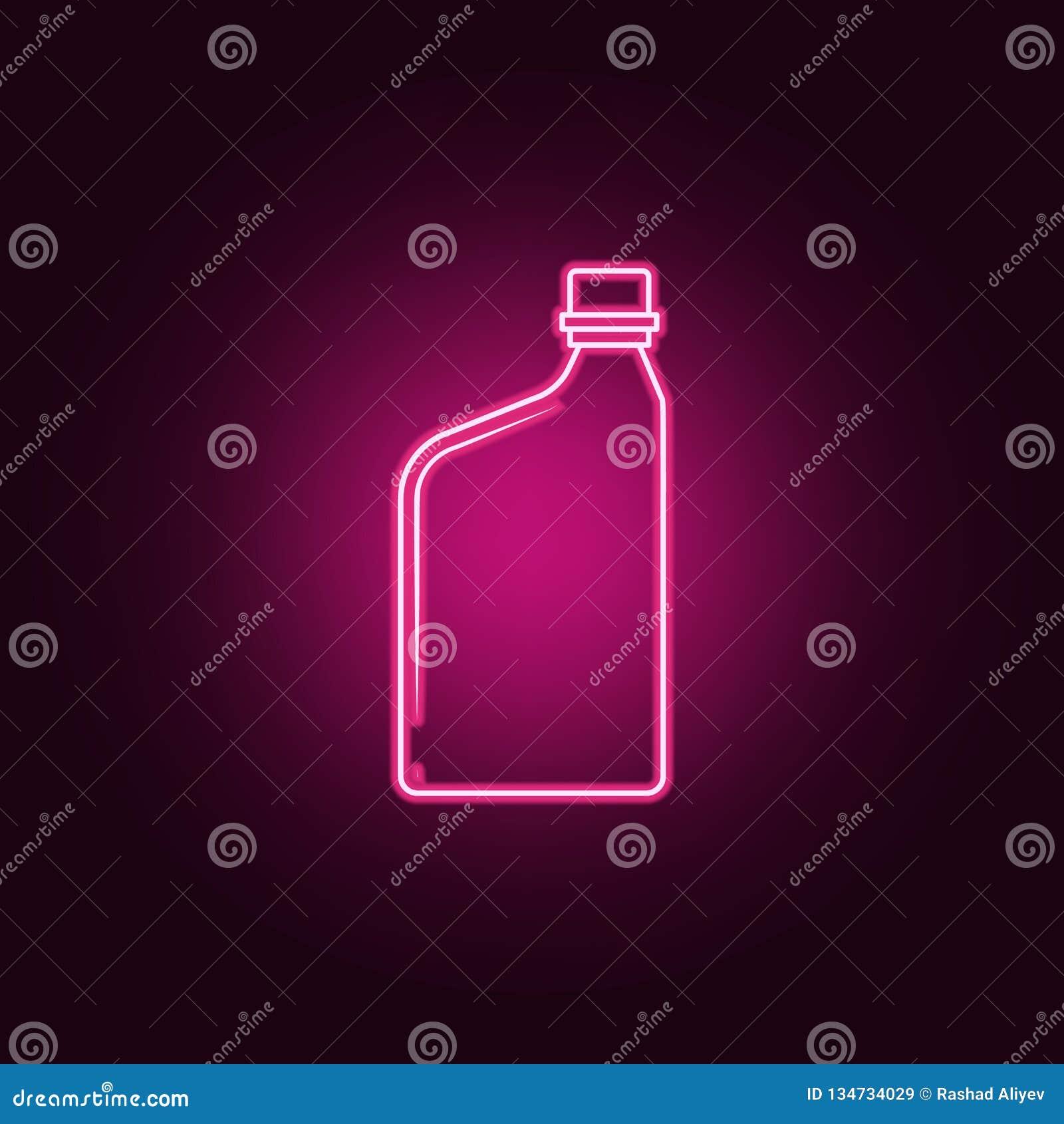 εμπορευματοκιβώτιο για το εικονίδιο πετρελαίου μηχανών Στοιχεία του μπουκαλιού στα εικονίδια ύφους νέου Απλό εικονίδιο για τους ι