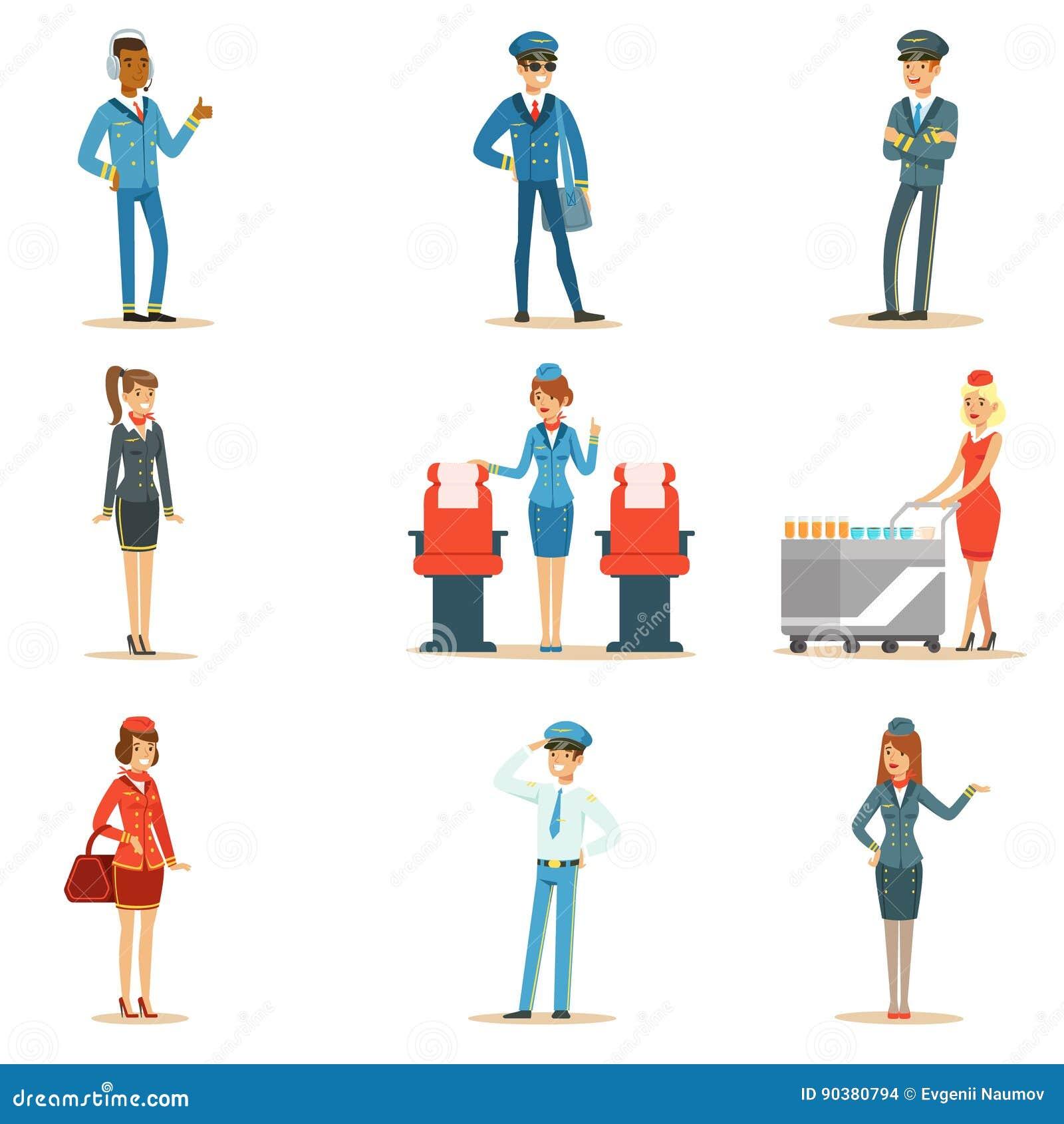 Εμπορικό σύνολο πληρώματος πινάκων πτήσης επαγγελματιών εναέριων μεταφορών που εργάζονται στο αεροπλάνο, τις αεροσυνοδούς και του