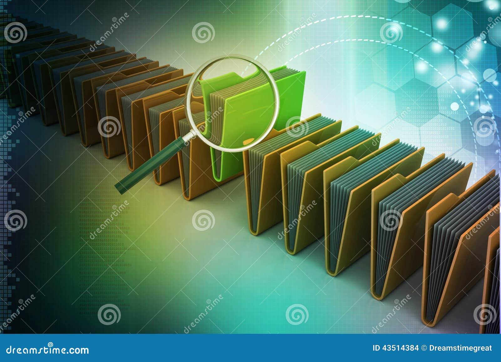 Ενίσχυση - γυαλί με το φάκελλο αρχείων