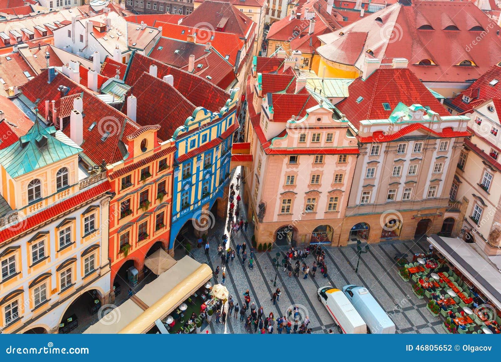 Εναέρια άποψη πέρα από την παλαιά πλατεία της πόλης στην Πράγα, Δημοκρατία της Τσεχίας