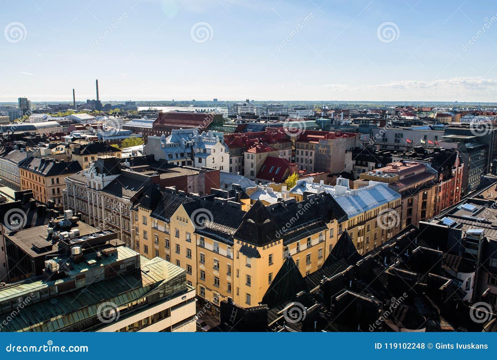 Εναέρια άποψη στην αρχιτεκτονική πόλεων του Ελσίνκι στη Φινλανδία
