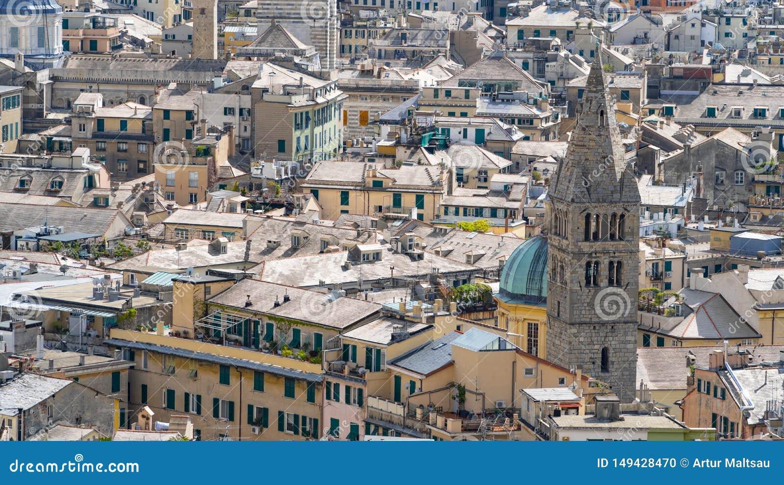 Εναέρια άποψη της παλαιάς πόλης Γένοβα Ορίζοντας Γένοβας, Ιταλία