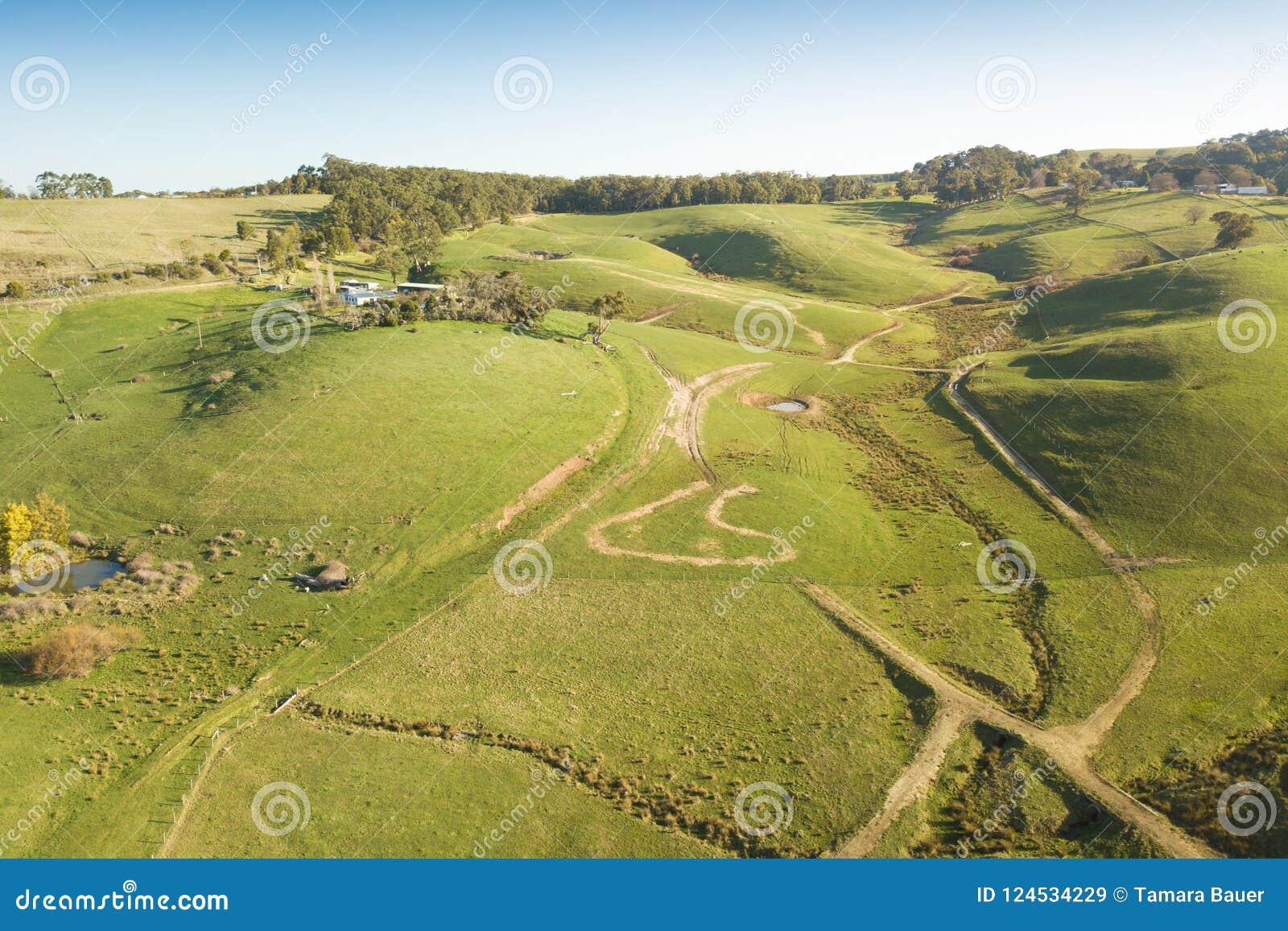 Εναέρια άποψη του καλλιεργήσιμου εδάφους στο νότο Gippsland