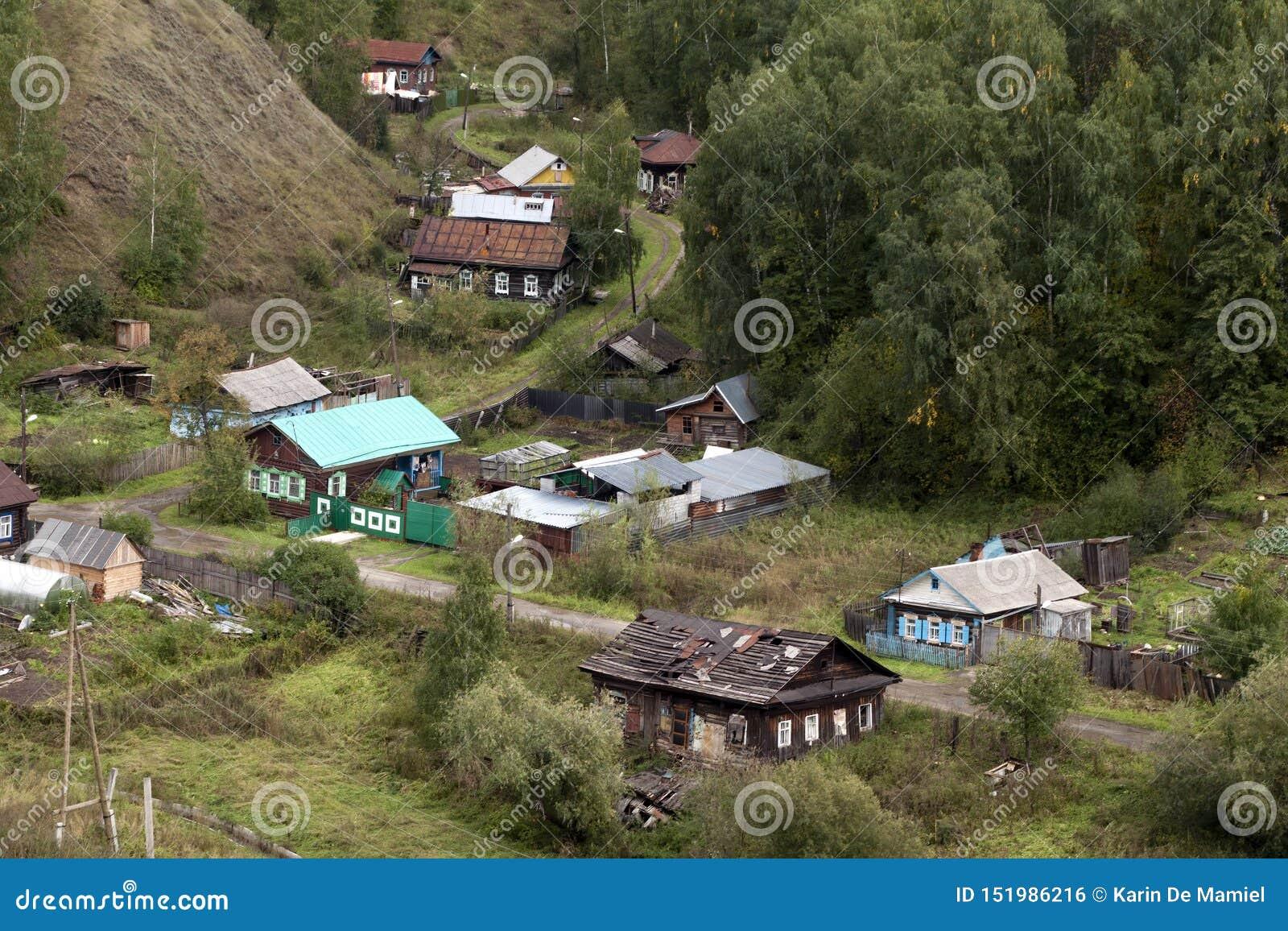 Εναέρια άποψη των τοπικών σπιτιών από το Κρεμλίνο