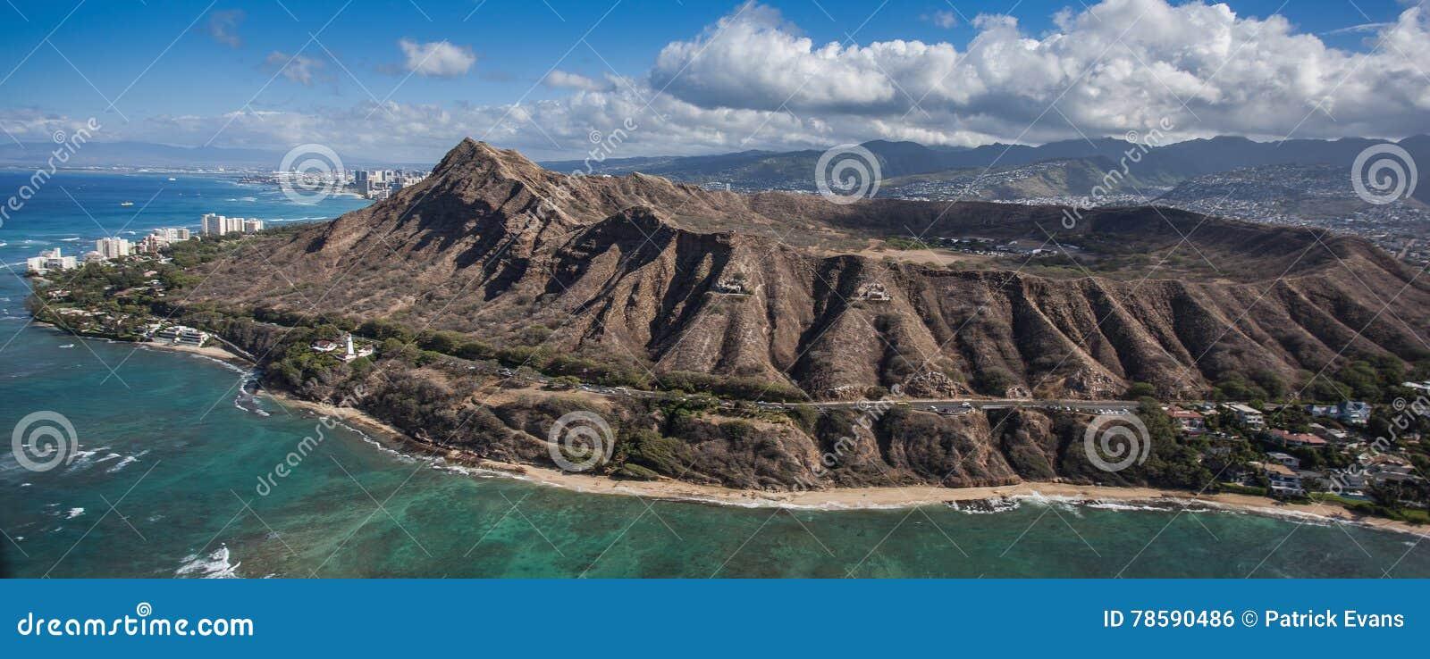 Εναέρια κεφάλι και Waikiki Oahu διαμαντιών άποψης