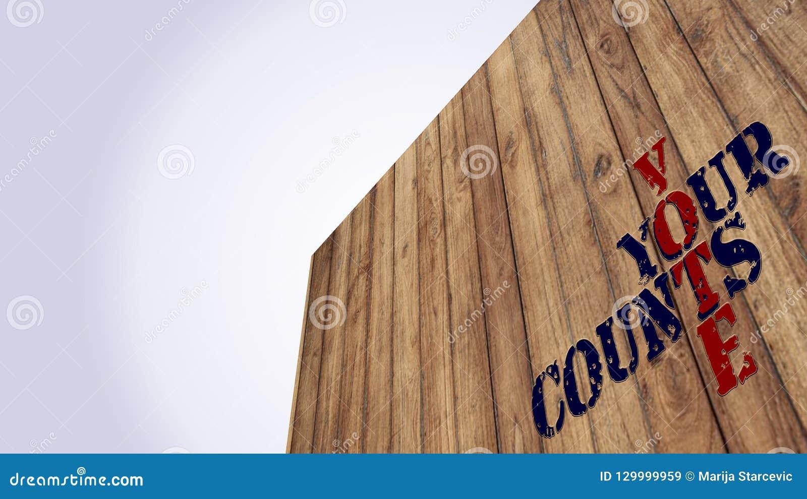 Ενδιάμεση εκλογή τα leters αριθμήσεων ψηφοφορίας σας στο ξύλινο υπόβαθρο