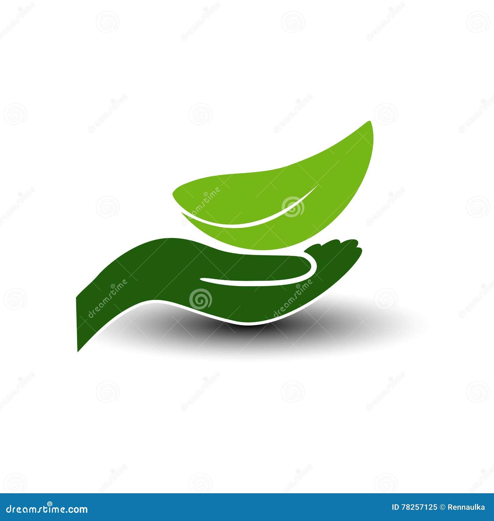 ενεργειακό πράσινο σύμβο& Φυσικό στοιχείο με το φύλλο και το χέρι Εικονίδιο φύσης