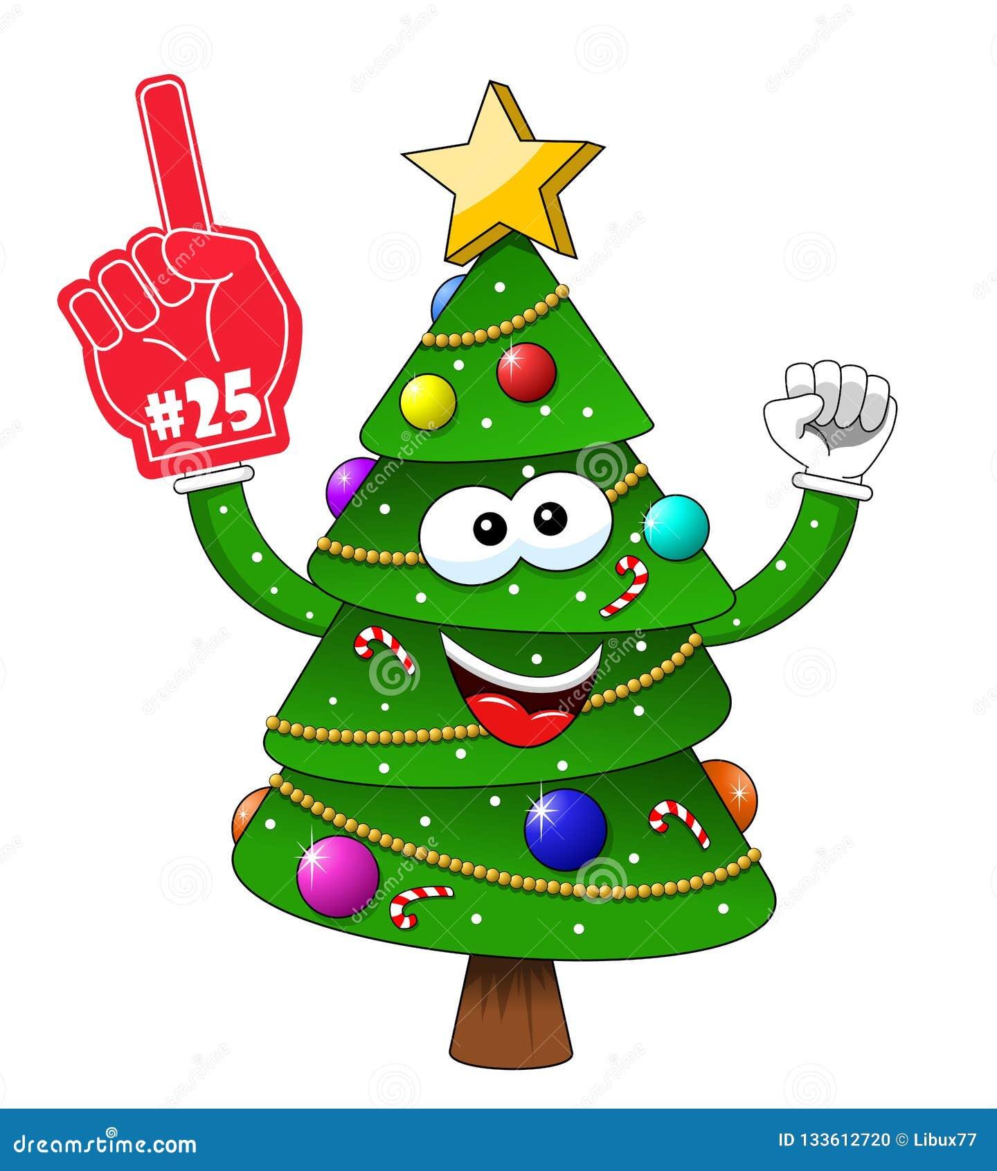 Ενθουσιώδης αριθμός 25 χριστουγεννιάτικων δέντρων Χριστουγέννων κινούμενων σχεδίων ανεμιστήρας υποστηρικτών γαντιών που απομονώνε