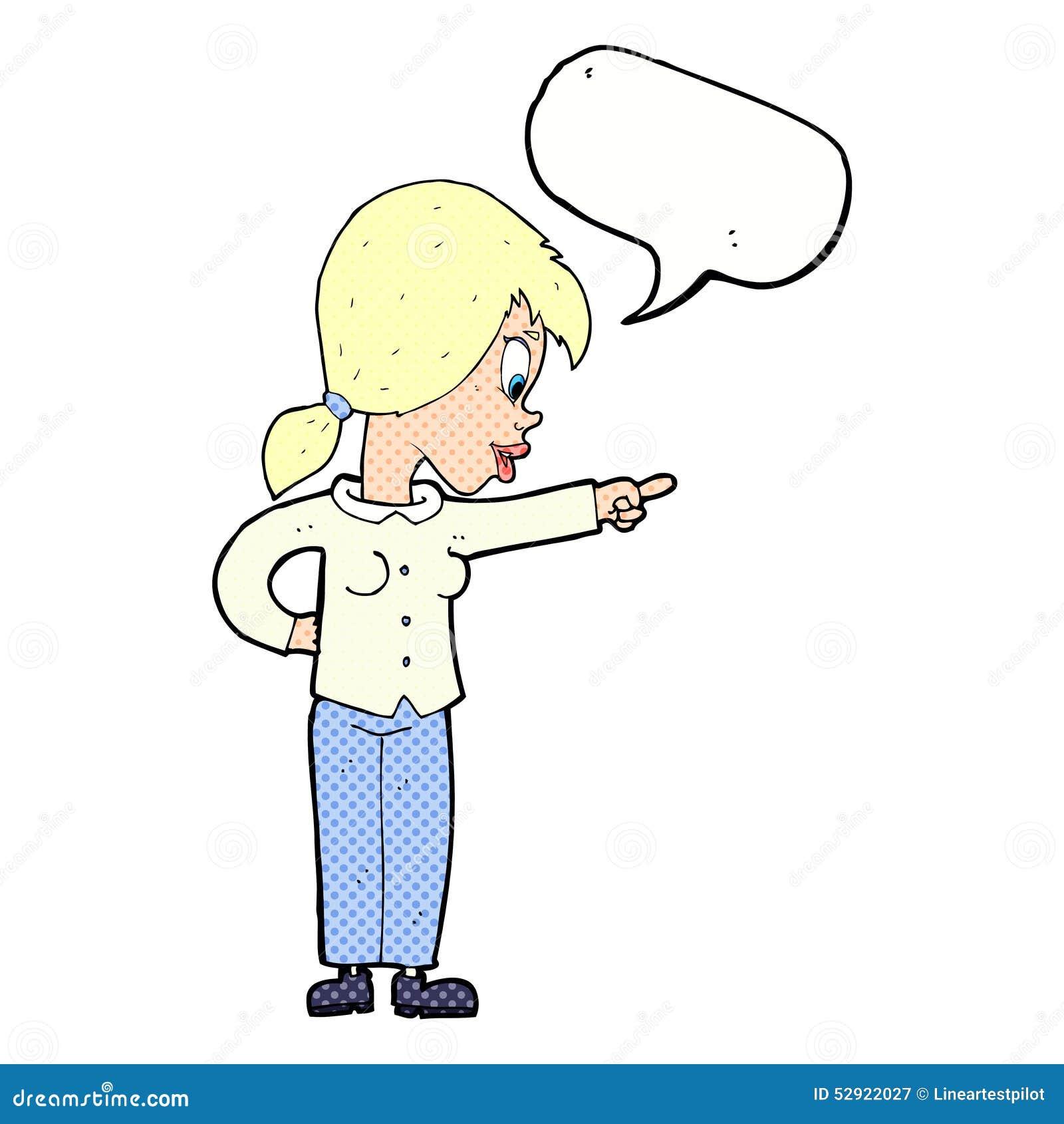 ενθουσιώδης γυναίκα κινούμενων σχεδίων που δείχνει με τη λεκτική φυσαλίδα