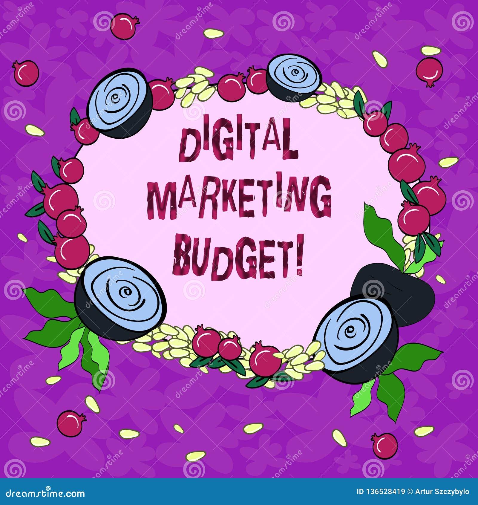 Εννοιολογικό χέρι που γράφει παρουσιάζοντας ψηφιακό προϋπολογισμό μάρκετινγκ Κόστος επίδειξης επιχειρησιακών φωτογραφιών που θα α