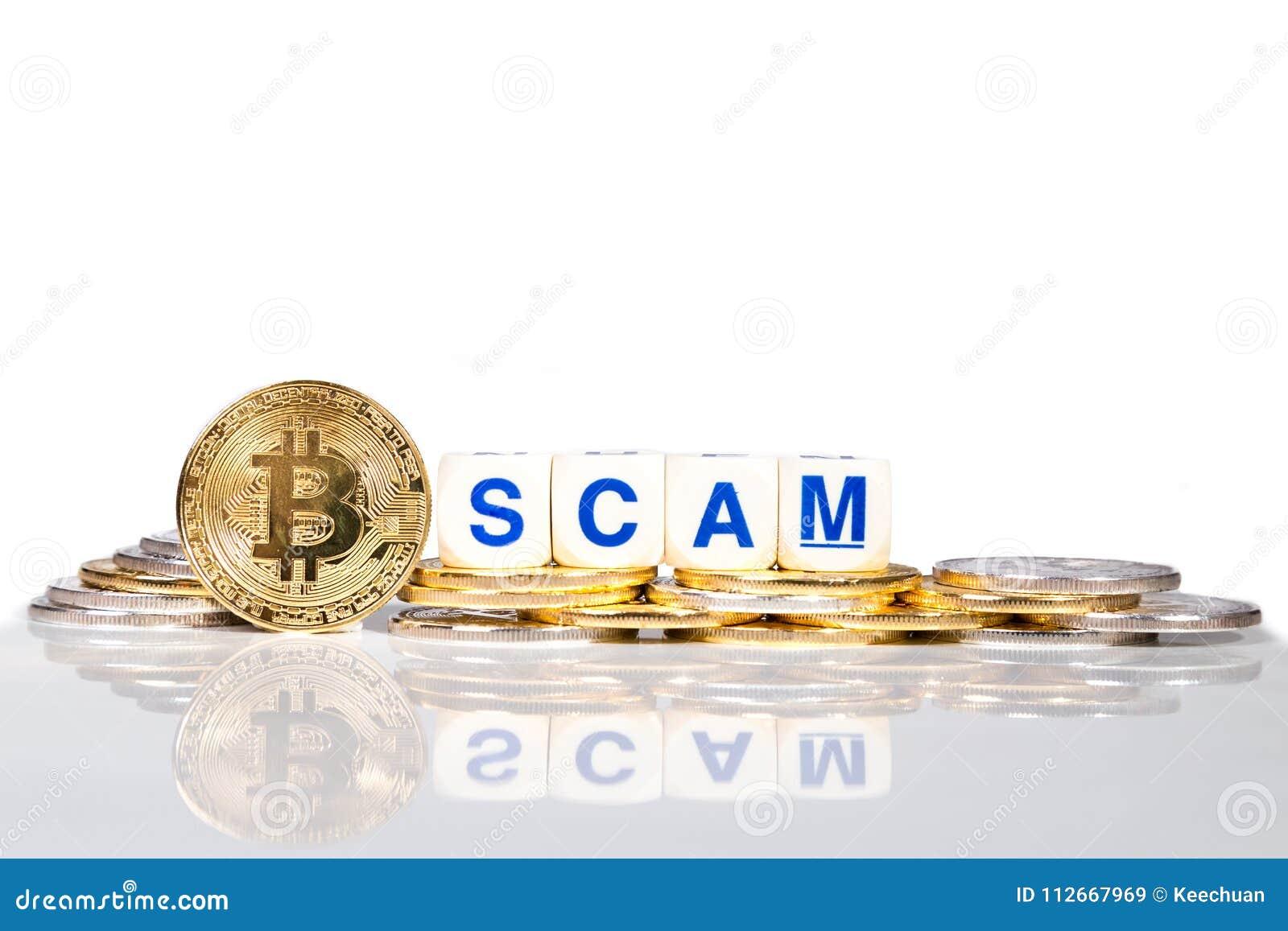 Εννοιολογικό cryptocurrency bitcoin με τη απάτη λέξης