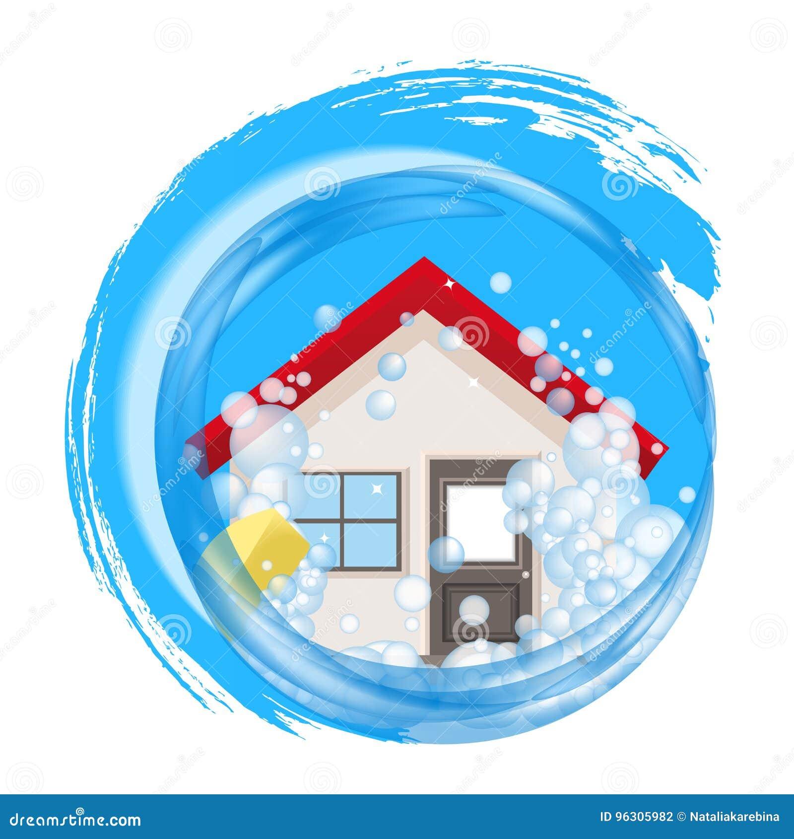 Εννοιολογικό λογότυπο για το καθαρό σπίτι Το σπίτι στον αφρό στο νερό