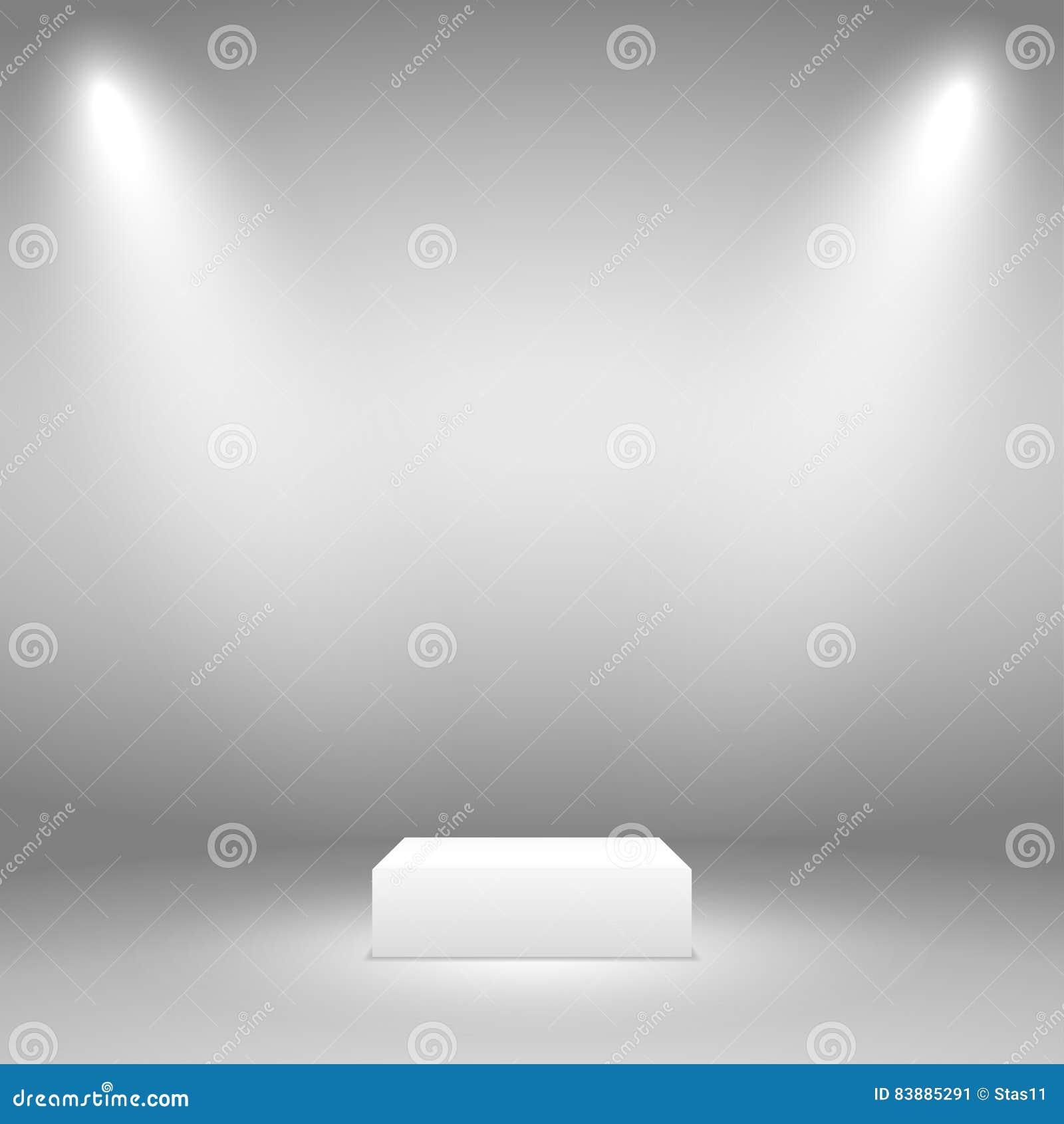 Εξέδρα για το αντικείμενο Δύο ακτίνες του φωτός σε ένα γκρίζο υπόβαθρο