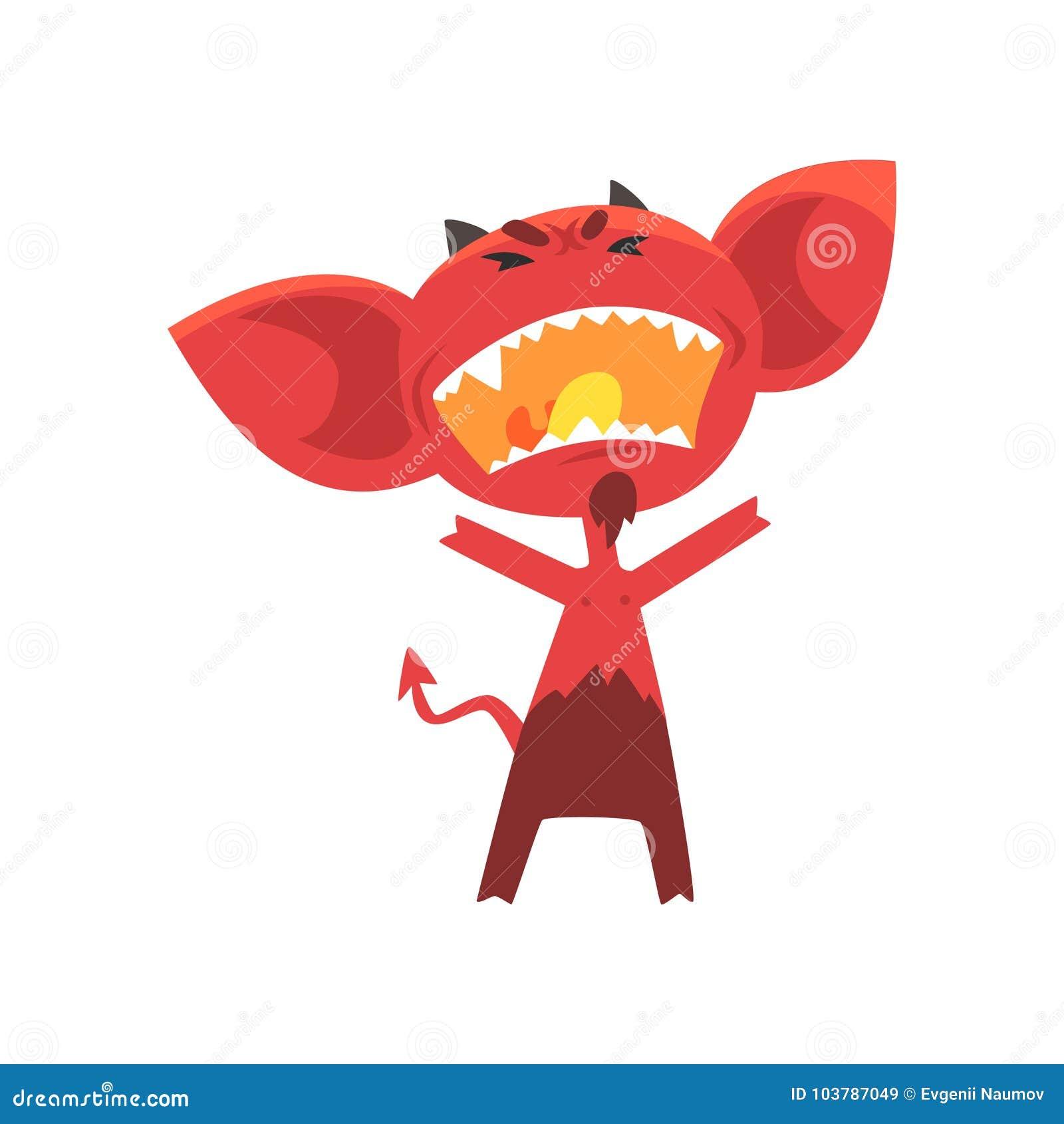 Εξαγριωμένος κόκκινος διάβολος με τα κέρατα, τα μεγάλες αυτιά και την ουρά Πλασματικός χαρακτήρας από την κόλαση στο επίπεδο ύφος
