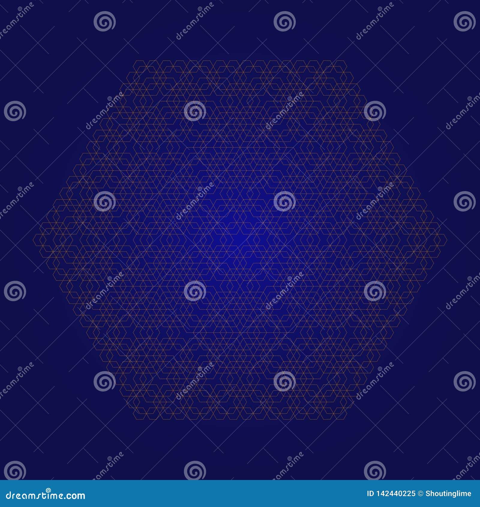 Εξαγωνικό fractal αφηρημένο BG κίτρινο στο μπλε