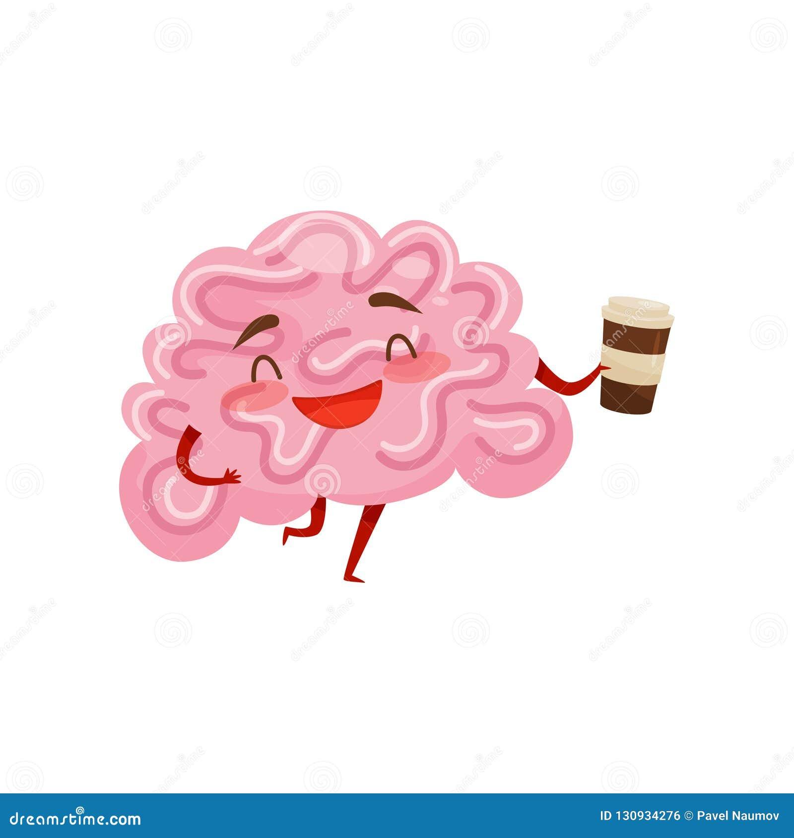 Εξανθρωπισμένος εγκέφαλος που γελά και που κρατά το πλαστικό φλιτζάνι του καφέ χαρακτήρας κινουμένων σχ&eps ανθρώπινο όργανο Επίπ