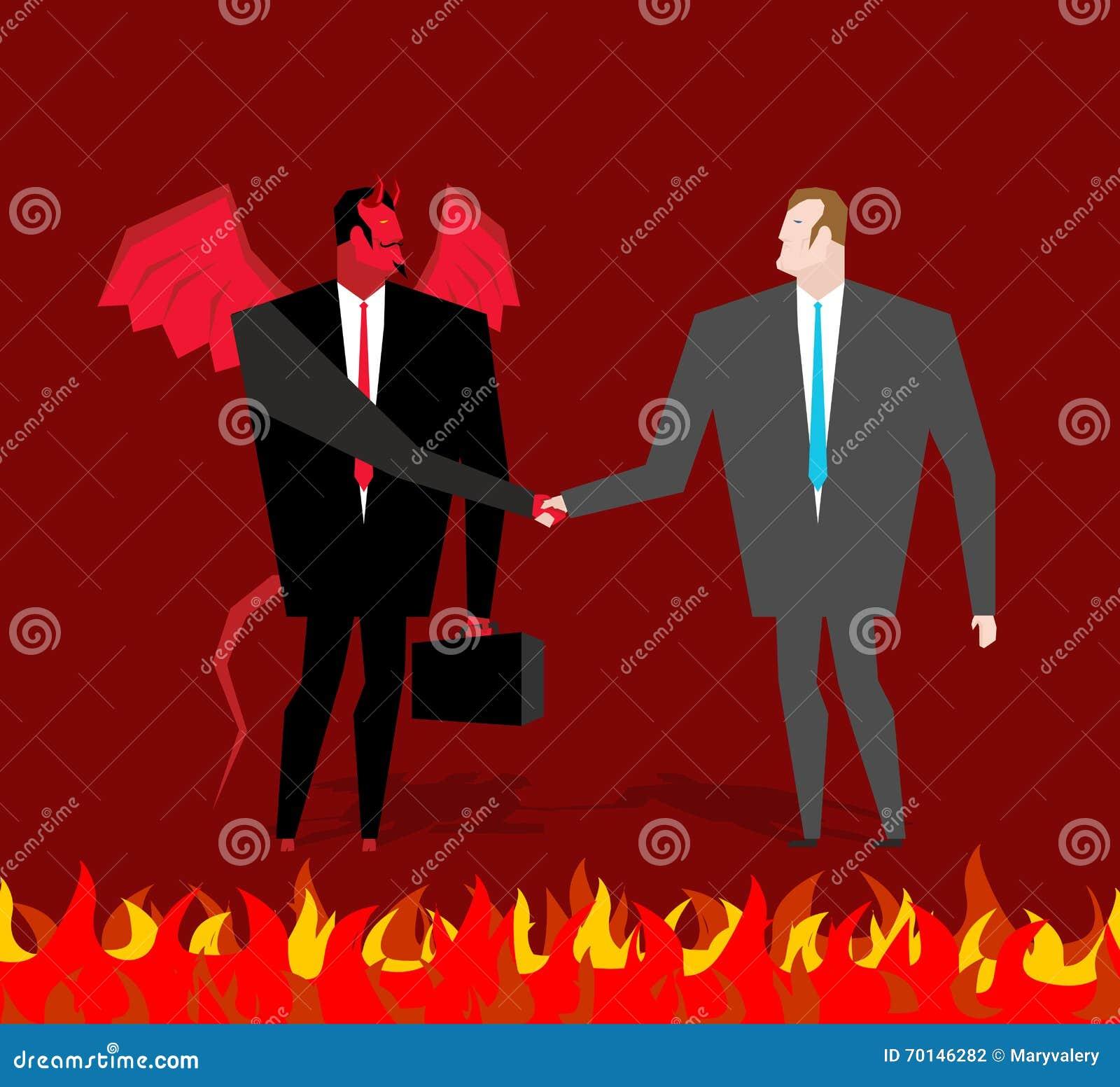 Εξετάστε το διάβολο Ο επιχειρηματίας και κάνει έναν δαίμονα διαπραγμάτευσης στην κόλαση