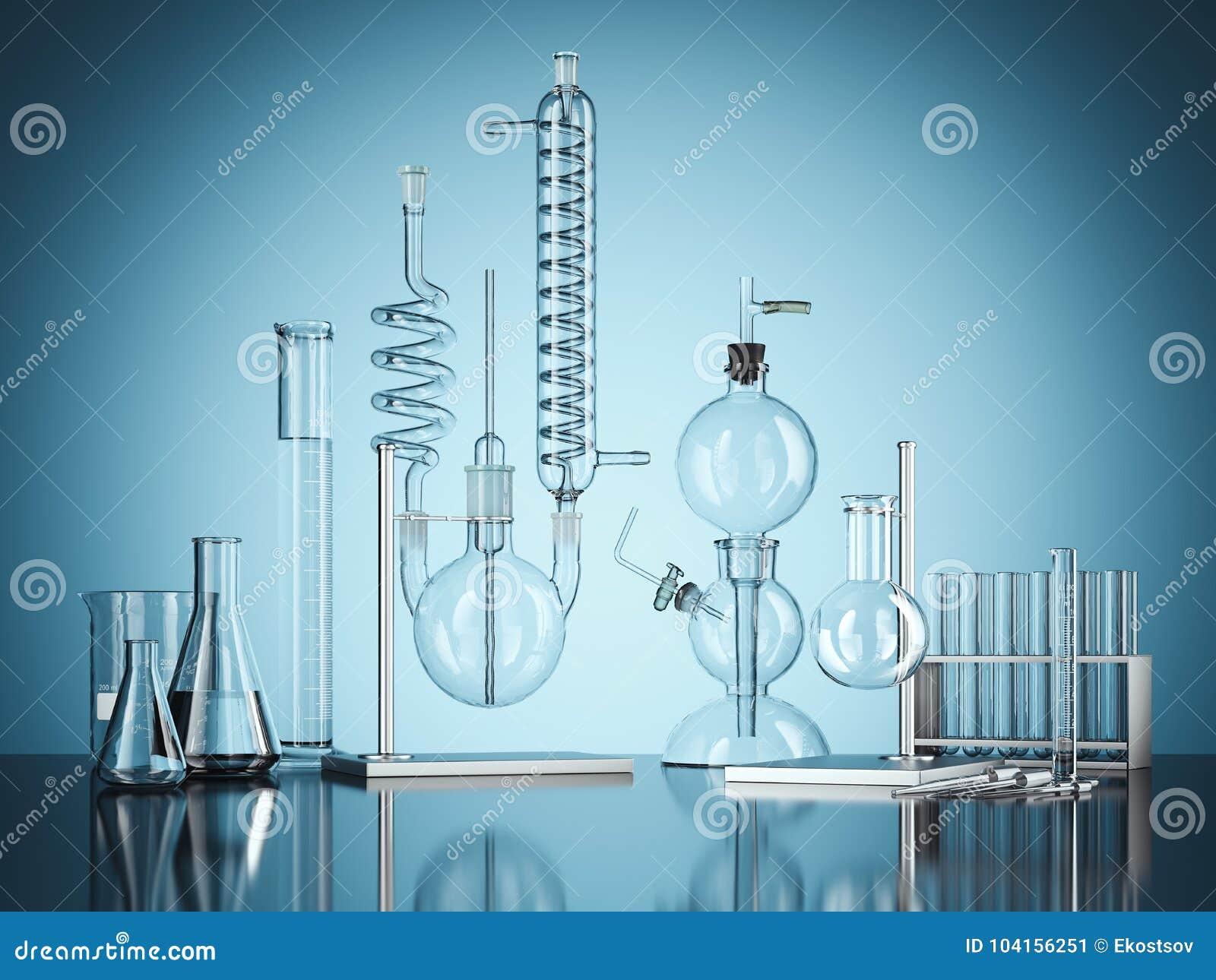 Εξοπλισμός εργαστηρίων χημείας γυαλιού στο μπλε υπόβαθρο τρισδιάστατη απόδοση