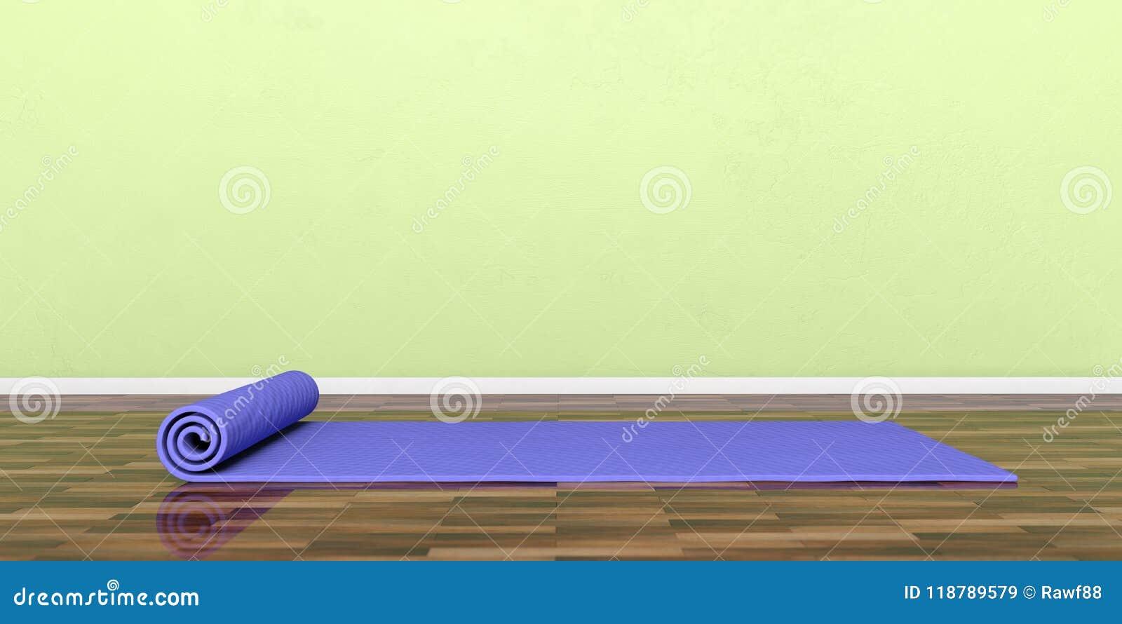Εξοπλισμός κατηγορίας γιόγκας Χαλί άσκησης στο ξύλινο πάτωμα, έμβλημα, διάστημα αντιγράφων τρισδιάστατη απεικόνιση