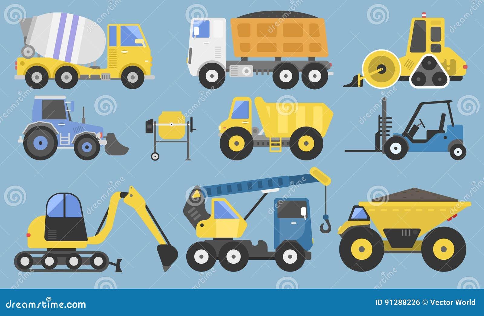Εξοπλισμός και μηχανήματα κατασκευής με φορτηγών γερανών διανυσματική απεικόνιση μεταφορών εκσακαφέων την επίπεδη κίτρινη