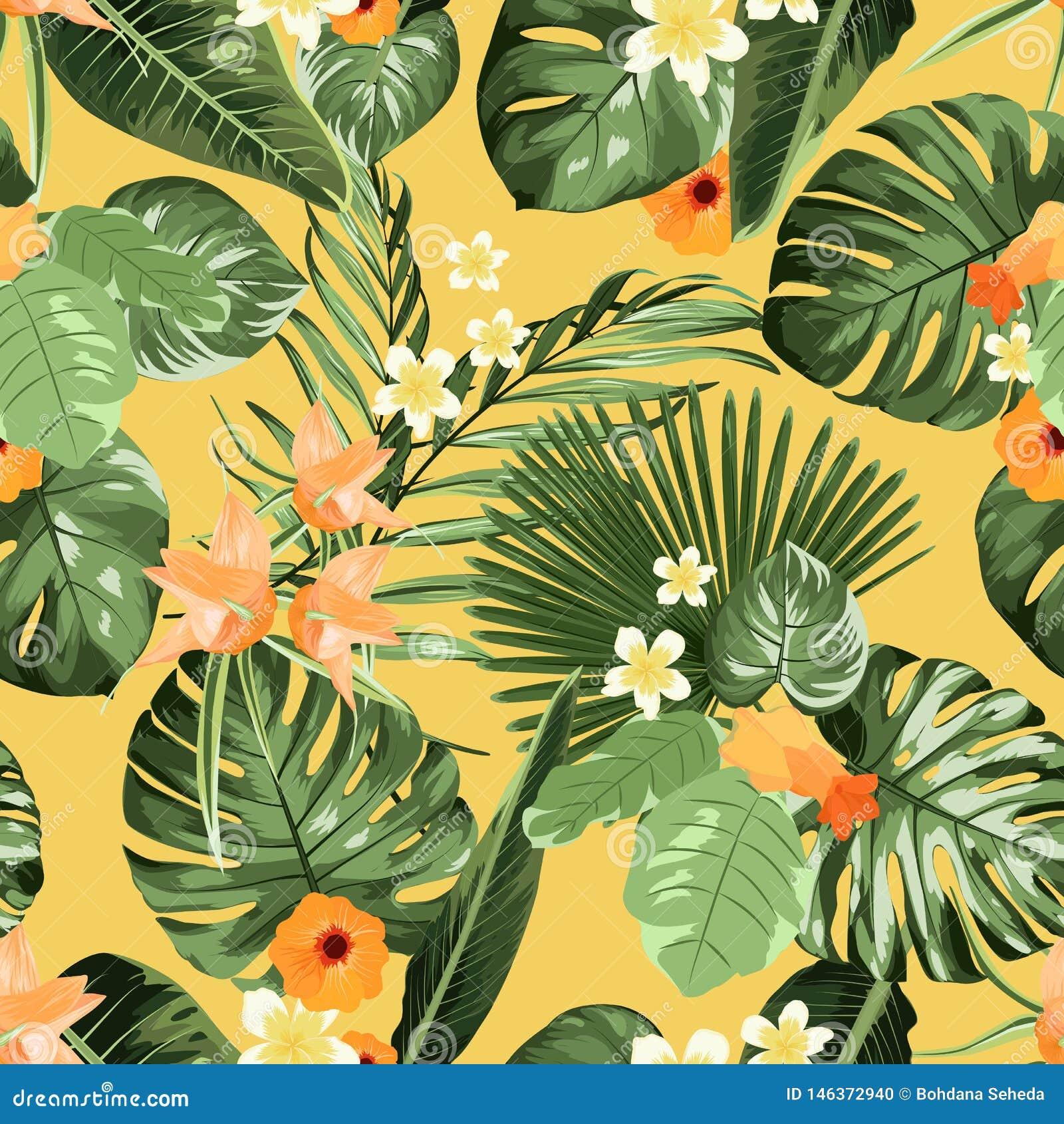Εξωτικό τροπικό σχέδιο, φύλλα φοινίκων monstera λουλουδιών plumeria στο κίτρινο υπόβαθρο