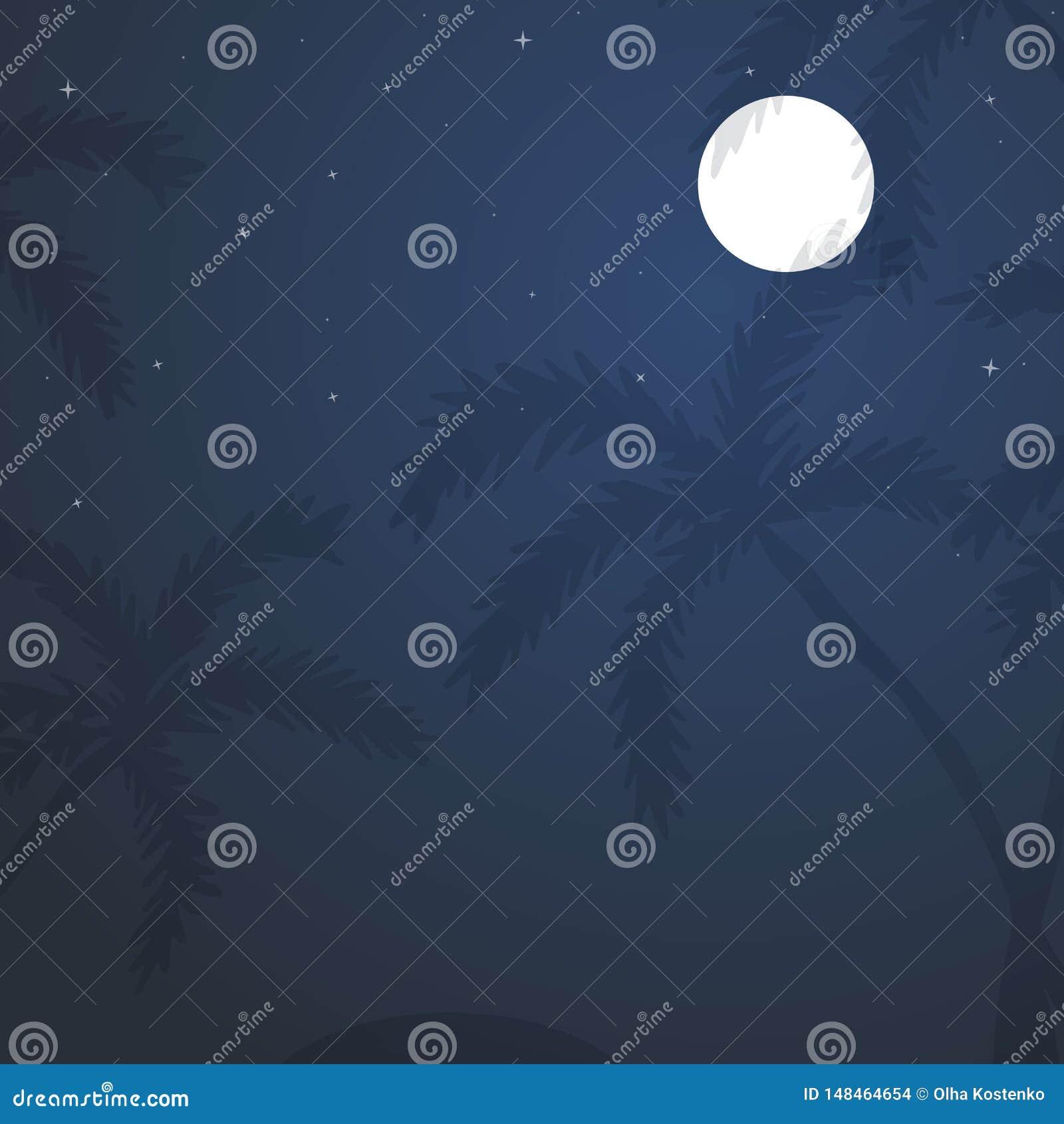 Εξωτικό τροπικό τοπίο με το νυχτερινό ουρανό φεγγαριών, φοίνικες
