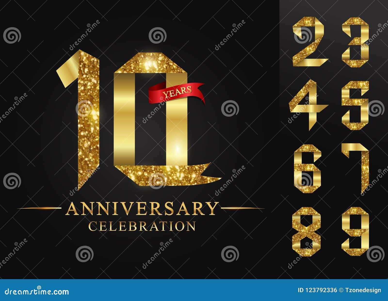 0-9 εορτασμός ετών επετείου logotype Χρυσός αριθμός κορδελλών λογότυπων και κόκκινη κορδέλλα στο μαύρο υπόβαθρο