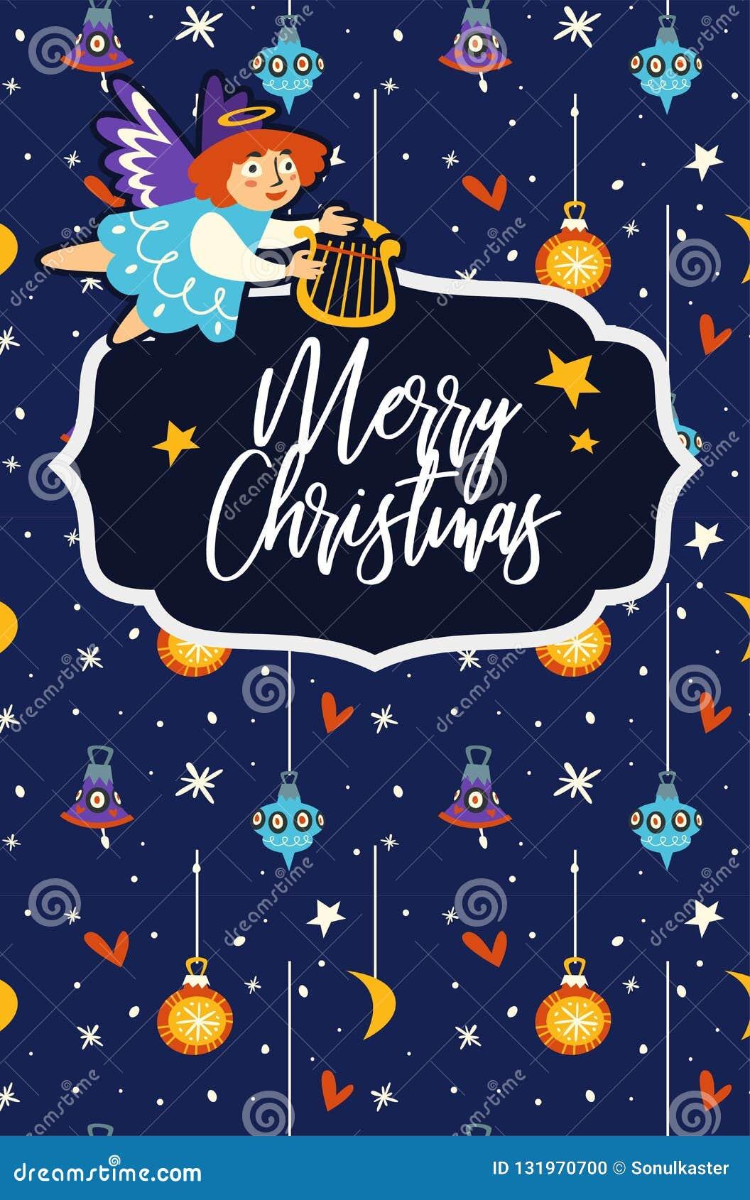Εορτασμός Χαρούμενα Χριστούγεννας, άγγελος που πετά και που κρατά την άρπα