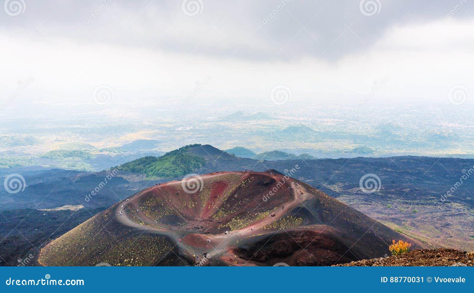 Επάνω από την άποψη Monti Silvestri του υποστηρίγματος Etna